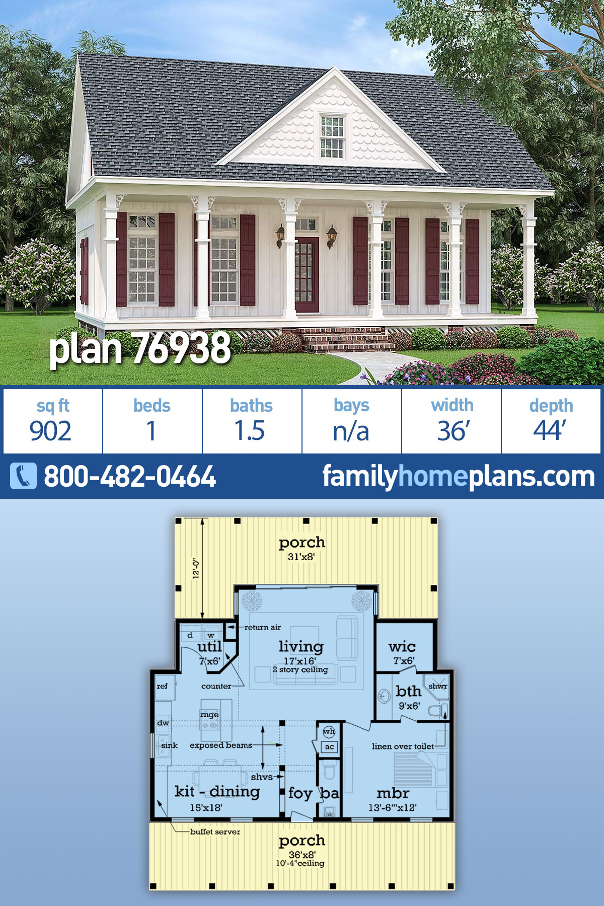 Cottage , Country , One-Story , Traditional House Plan 76938 with 1 Beds, 2 Baths