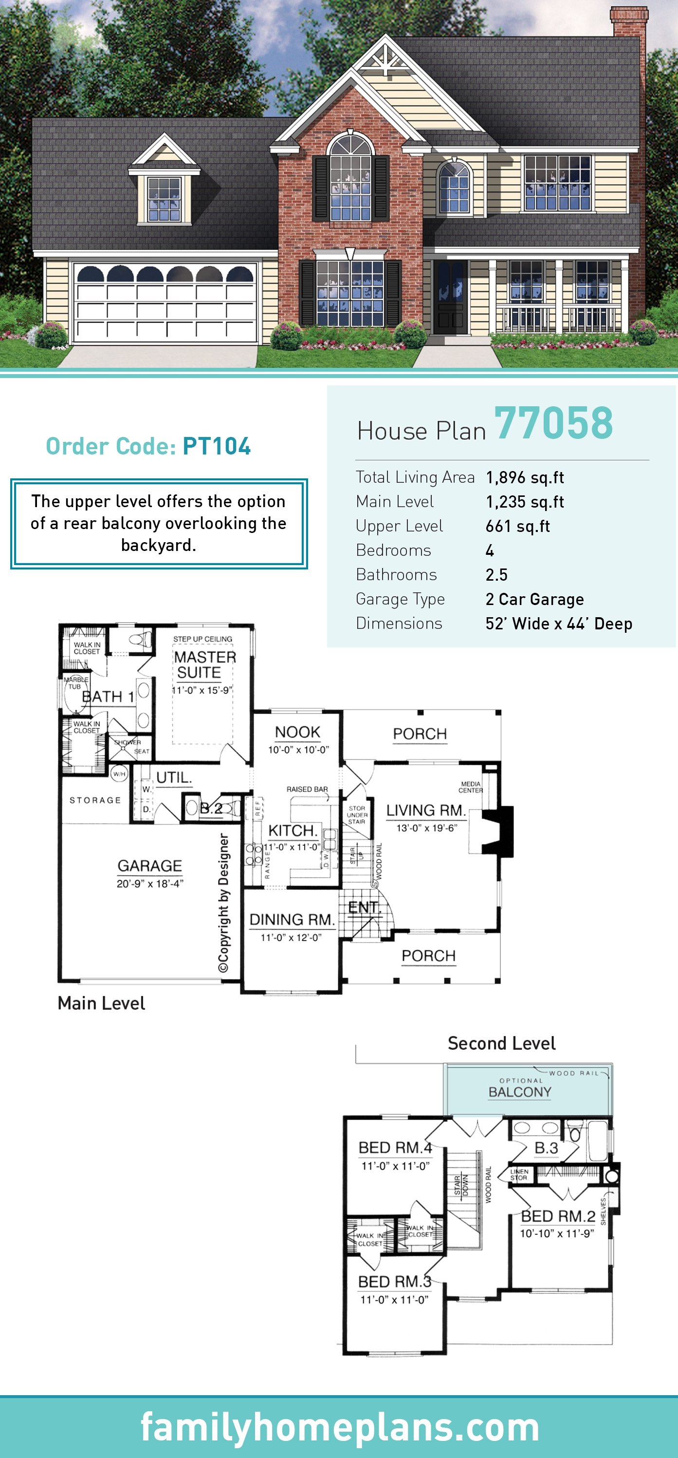 Farmhouse, Traditional House Plan 77058 with 4 Beds, 2.5 Baths, 2 Car Garage