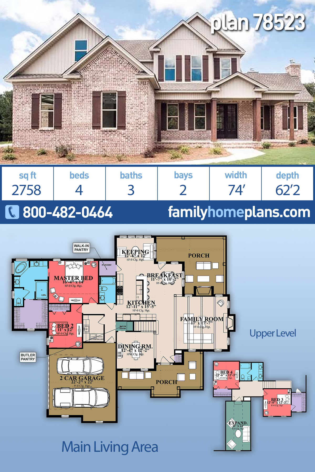 Farmhouse, Ranch, Traditional House Plan 78523 with 4 Beds, 3 Baths, 2 Car Garage