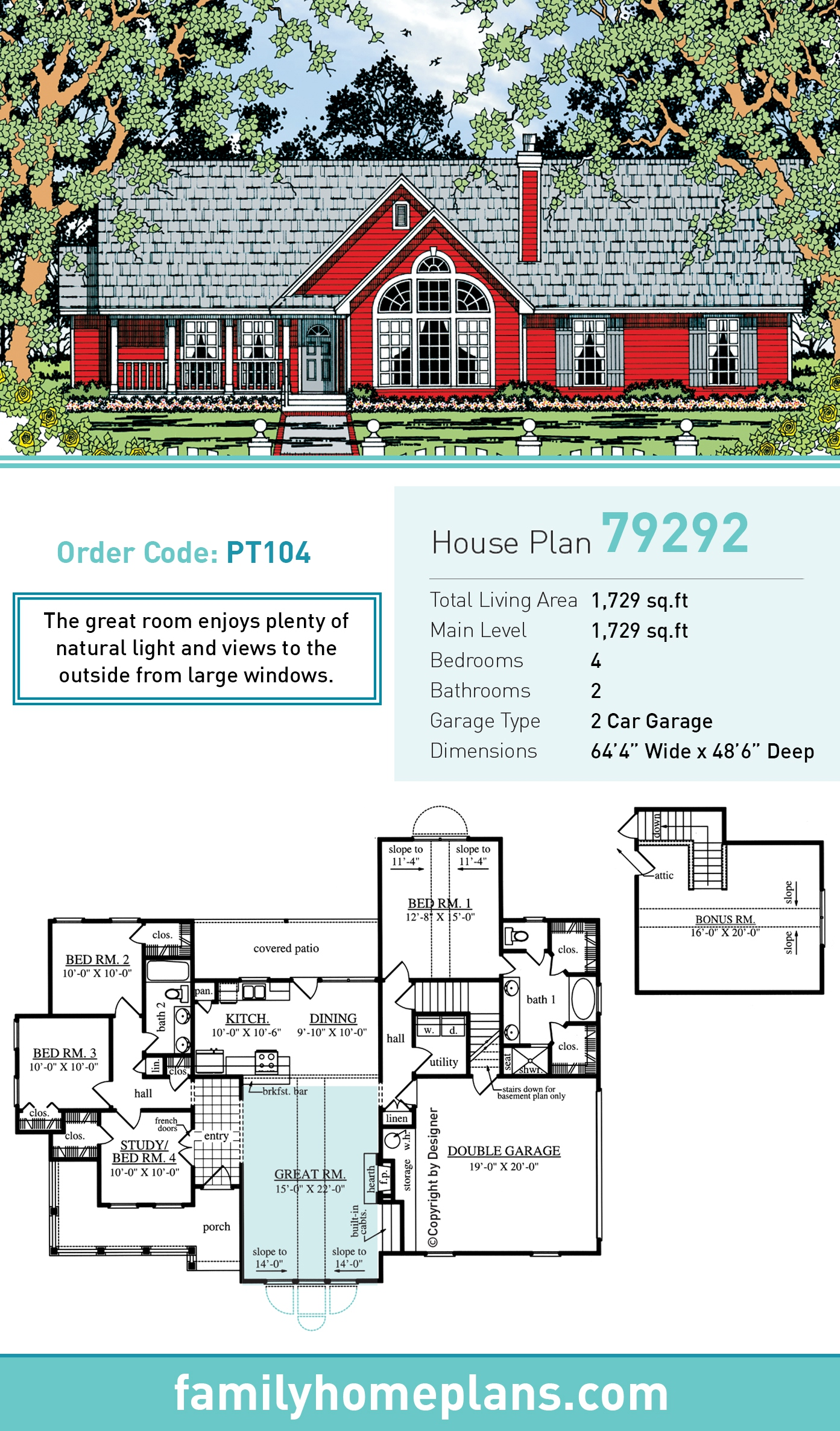 Country, One-Story House Plan 79292 with 4 Beds, 2 Baths, 2 Car Garage