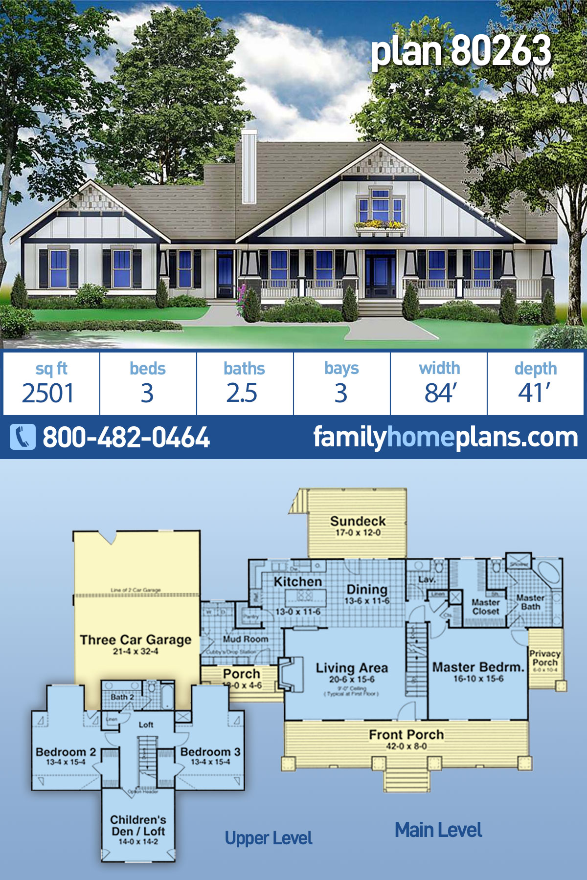 Country, Craftsman, Farmhouse House Plan 80263 with 3 Beds, 3 Baths, 3 Car Garage