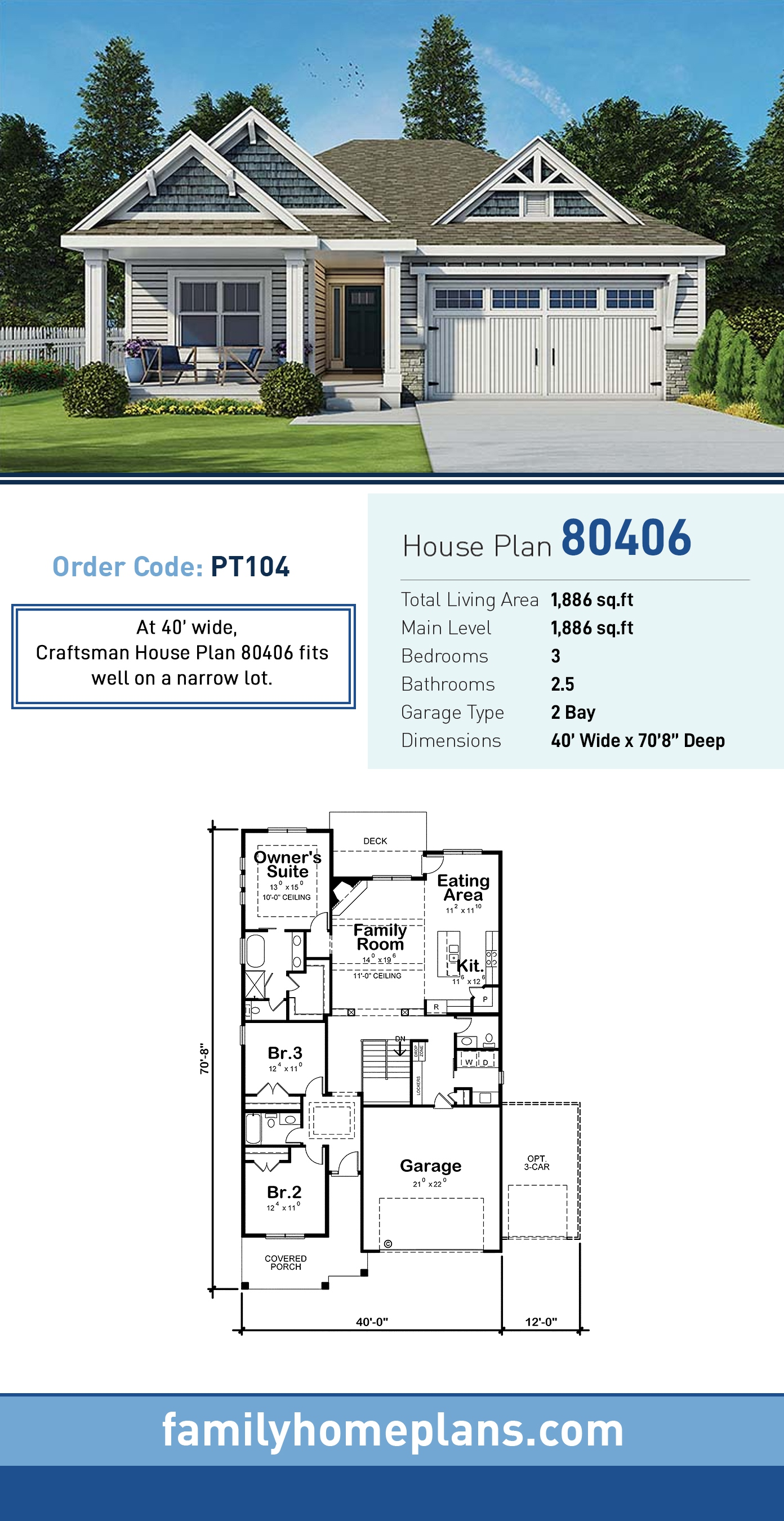 Cottage, Country, Craftsman, Ranch, Traditional House Plan 80406 with 3 Beds, 3 Baths, 2 Car Garage