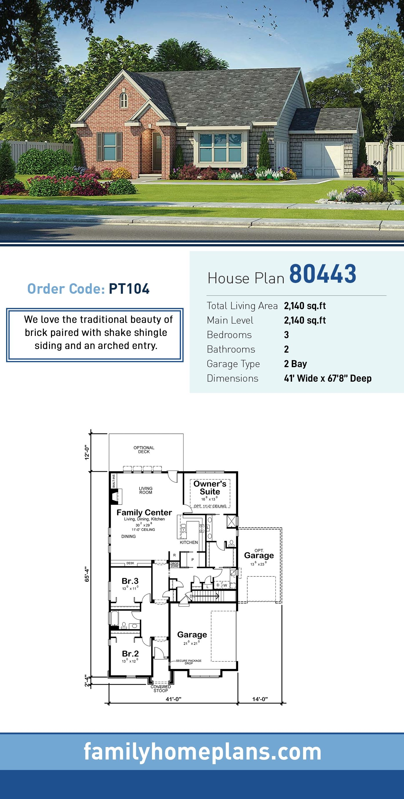 Craftsman, Traditional House Plan 80443 with 3 Beds, 2 Baths, 2 Car Garage