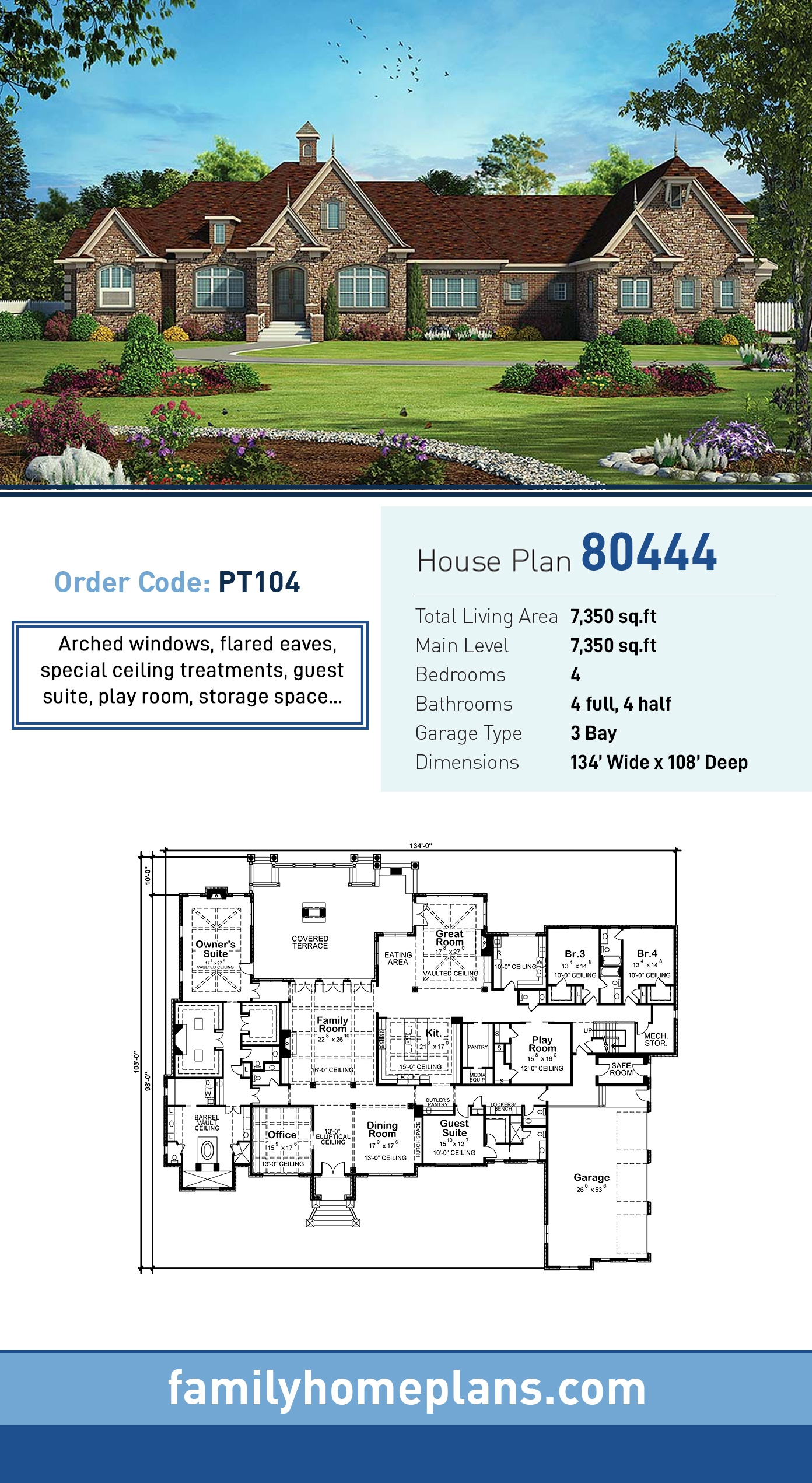 European, French Country House Plan 80444 with 4 Beds, 8 Baths, 3 Car Garage