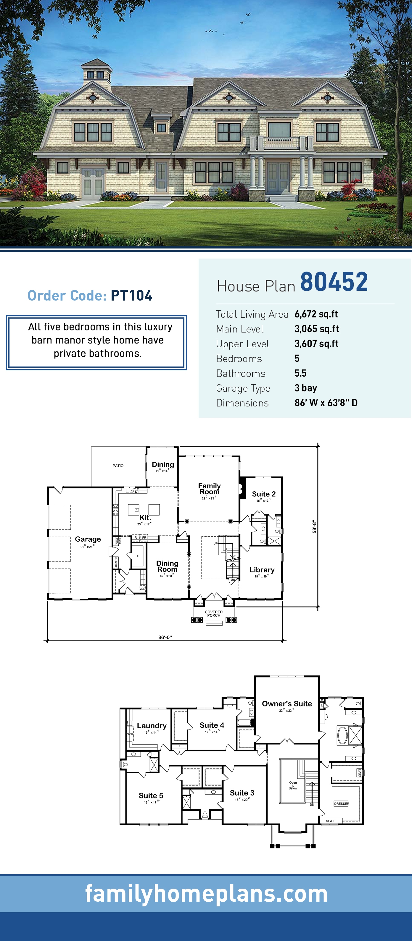 Cape Cod, Country House Plan 80452 with 5 Beds, 6 Baths, 3 Car Garage