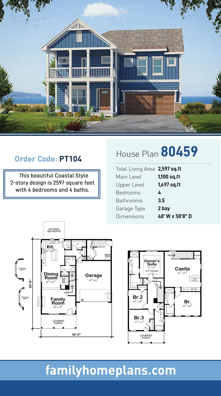 Coastal House Plan 80459 with 4 Beds, 4 Baths, 2 Car Garage