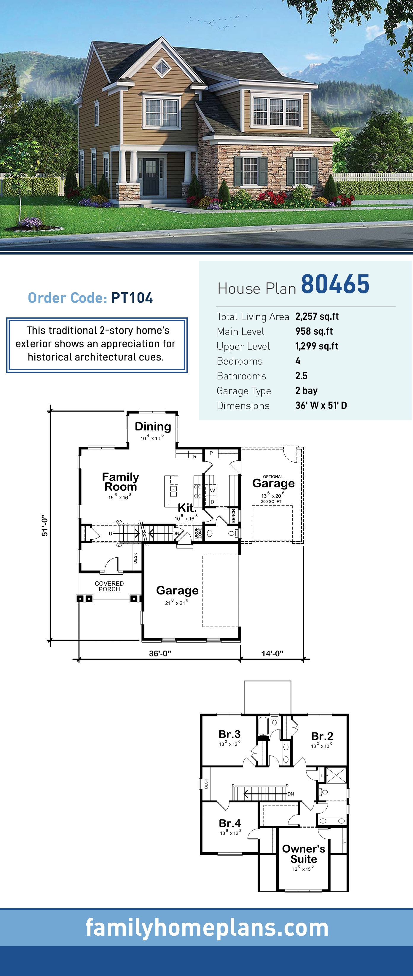 Traditional House Plan 80465 with 4 Beds, 3 Baths, 2 Car Garage