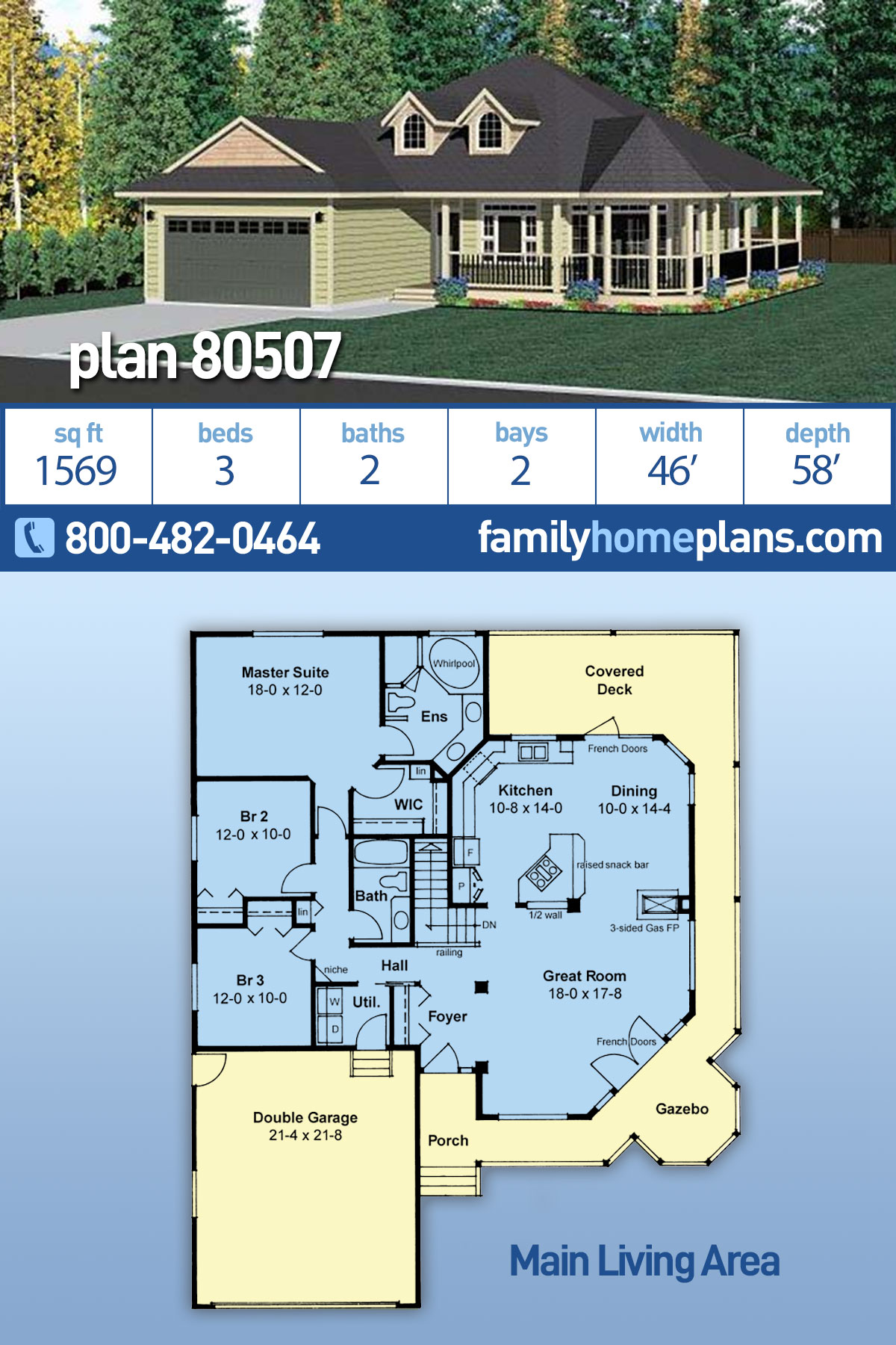 Country, Traditional House Plan 80507 with 3 Beds, 2 Baths, 2 Car Garage