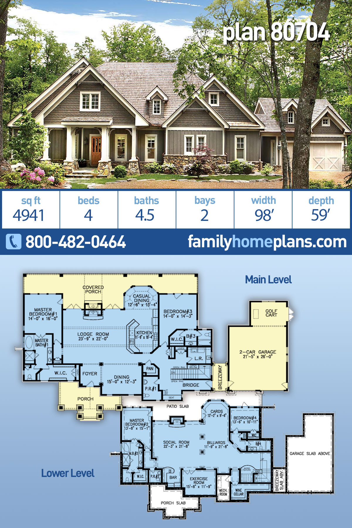 Craftsman, Farmhouse House Plan 80704 with 4 Beds, 5 Baths, 2 Car Garage