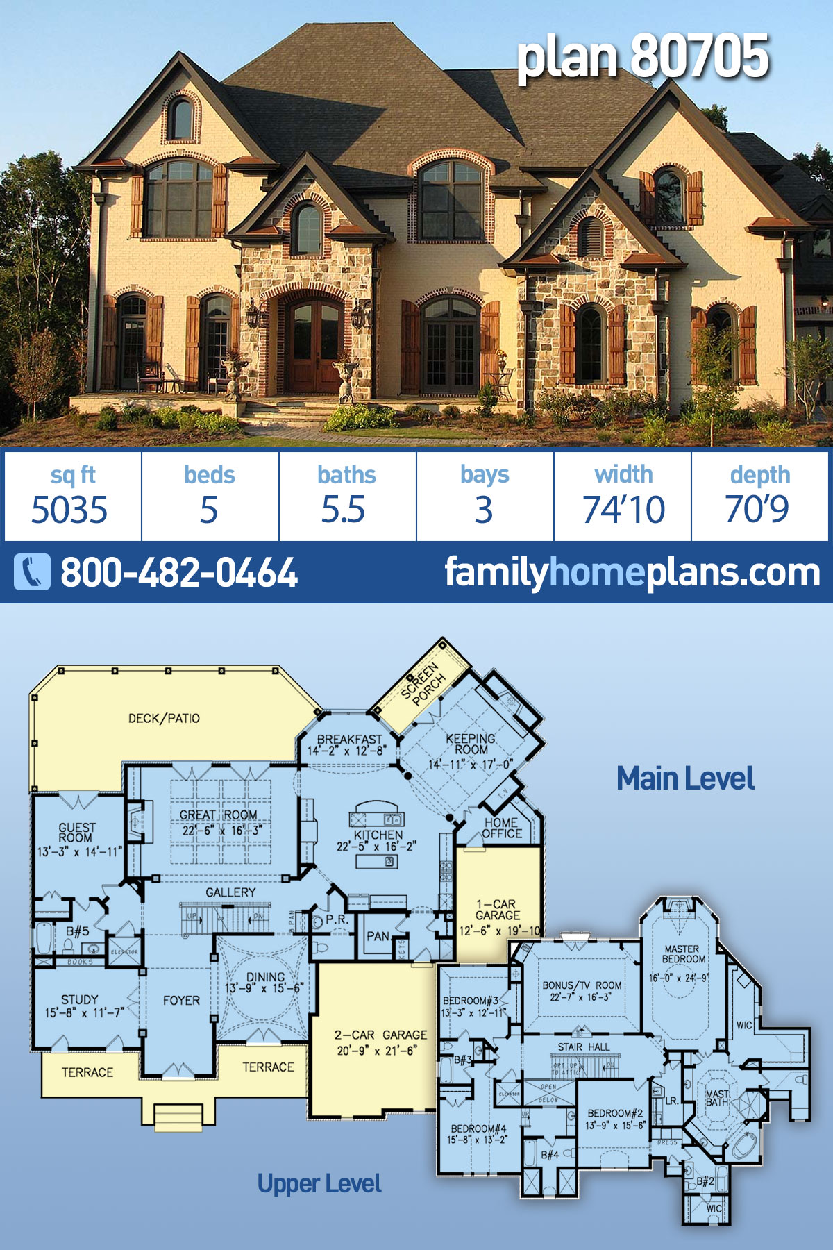 European, French Country, Traditional House Plan 80705 with 5 Beds, 6 Baths, 3 Car Garage