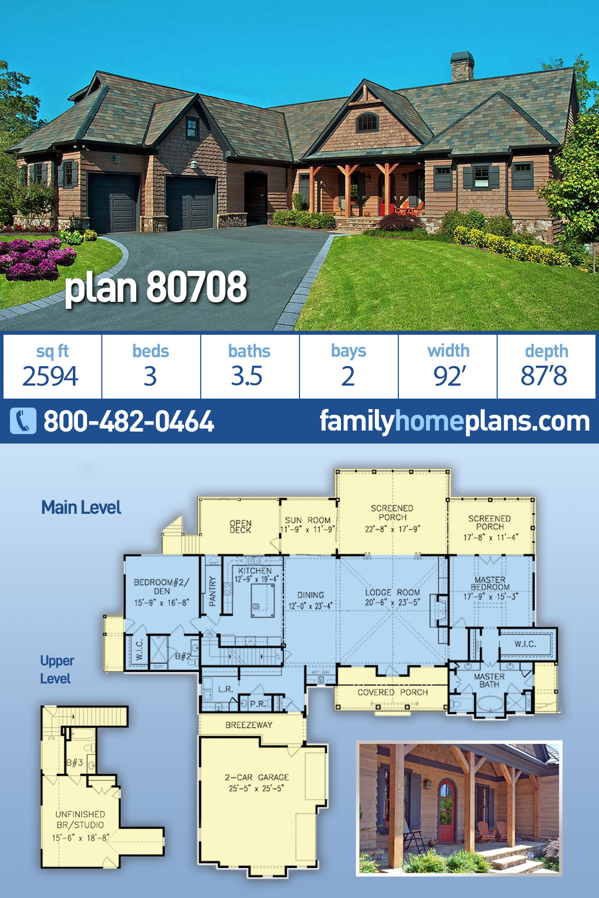 Cabin, Craftsman, Ranch House Plan 80708 with 3 Beds, 4 Baths, 2 Car Garage