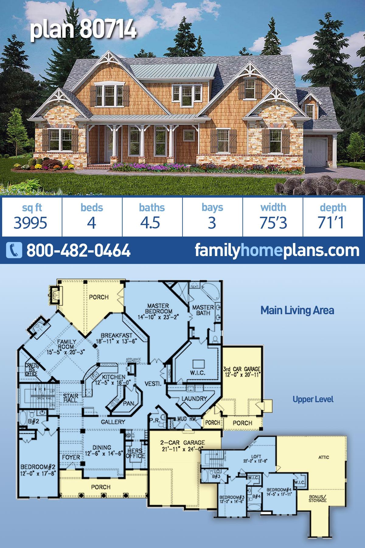 Cape Cod, Craftsman, Farmhouse House Plan 80714 with 4 Beds, 5 Baths, 3 Car Garage