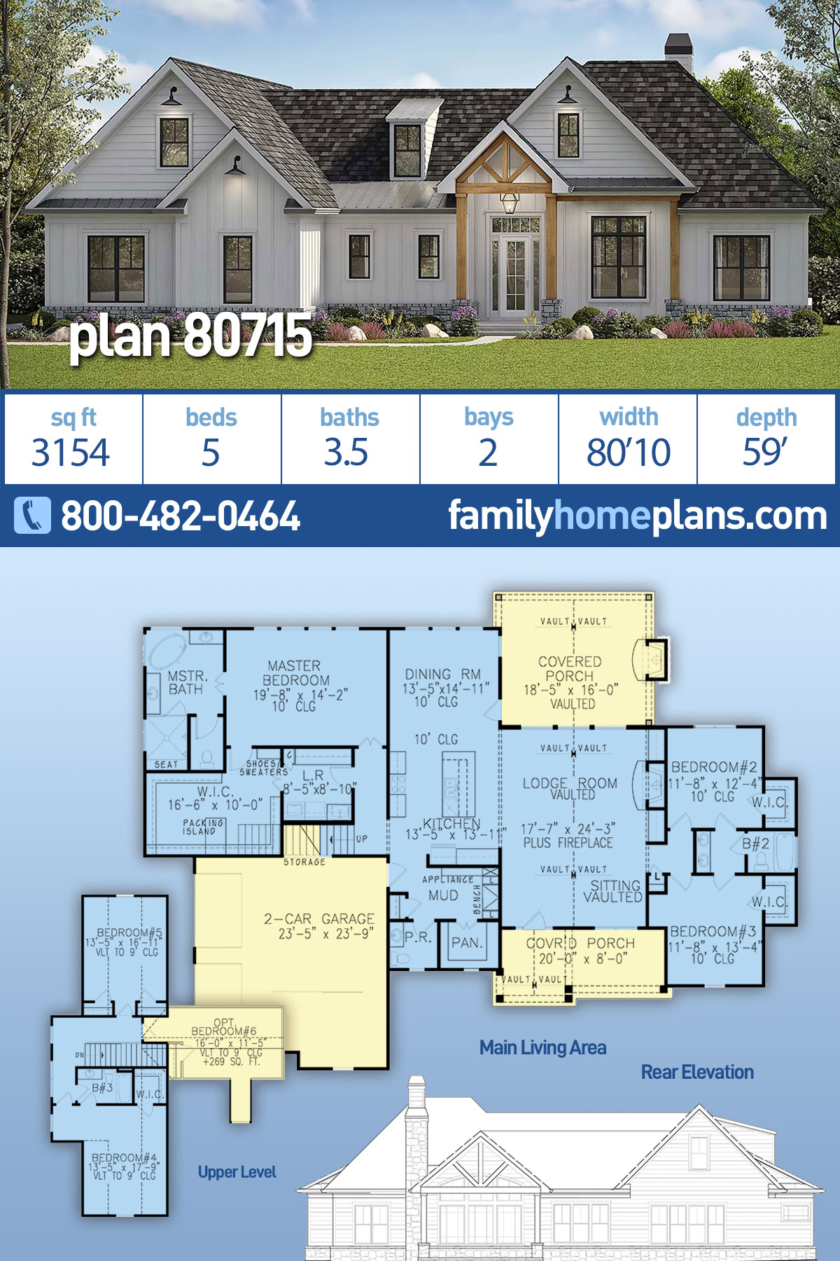 Country, Farmhouse, Ranch, Southern House Plan 80715 with 5 Beds, 4 Baths, 2 Car Garage