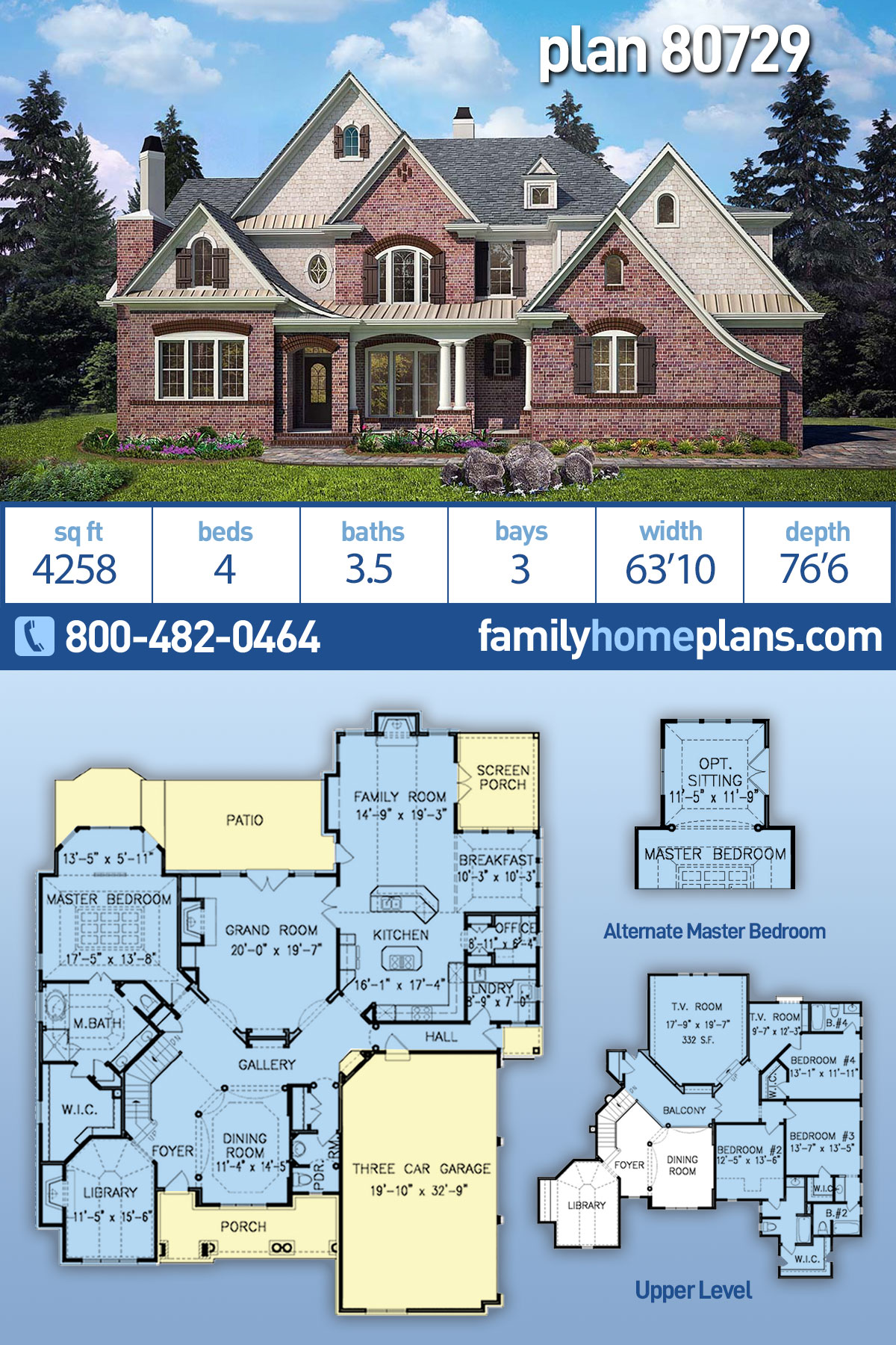 European, Traditional House Plan 80729 with 4 Beds, 4 Baths, 3 Car Garage
