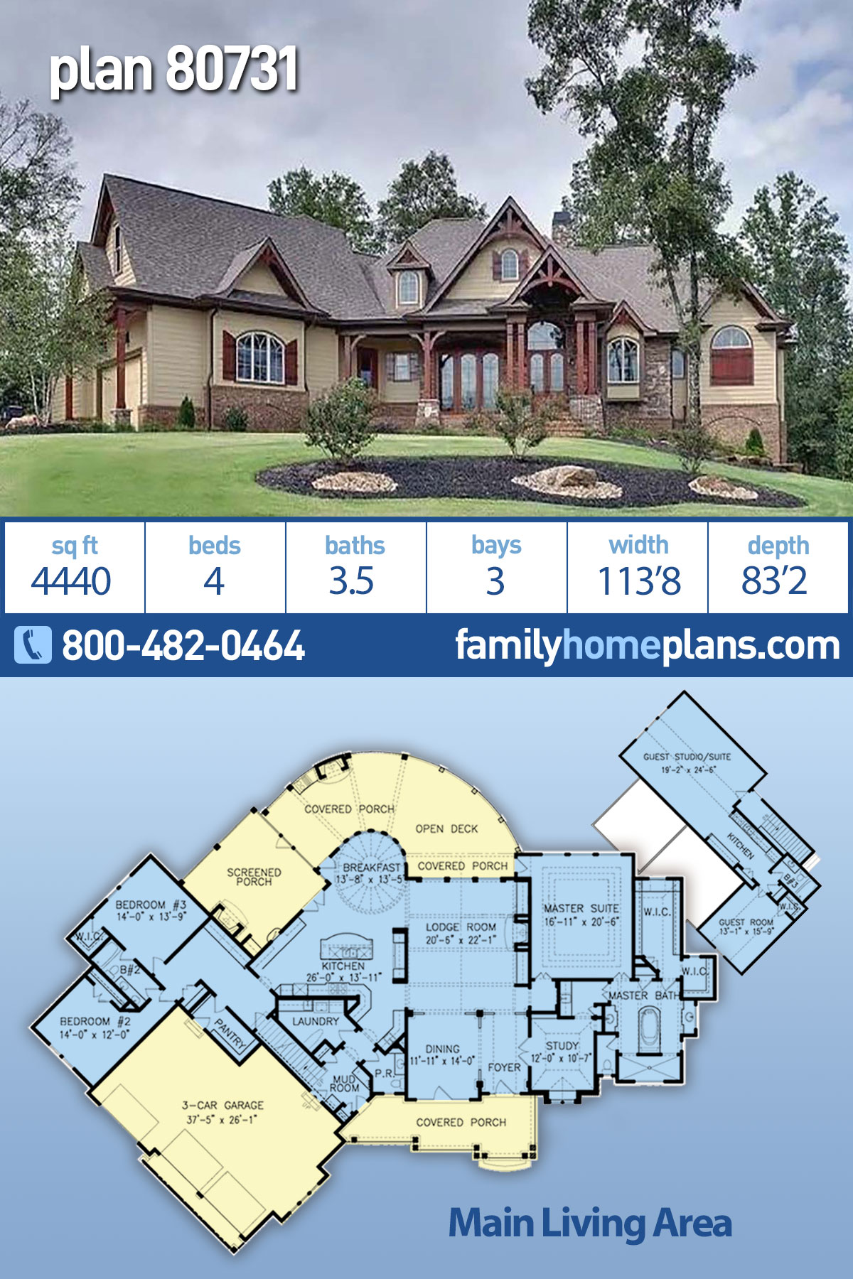 Country, Craftsman, Farmhouse, Ranch, Southern House Plan 80731 with 4 Beds, 4 Baths, 3 Car Garage