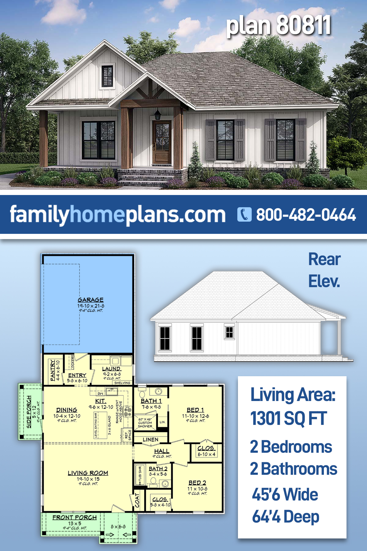 Cottage, Country, Farmhouse House Plan 80811 with 2 Beds, 2 Baths, 2 Car Garage