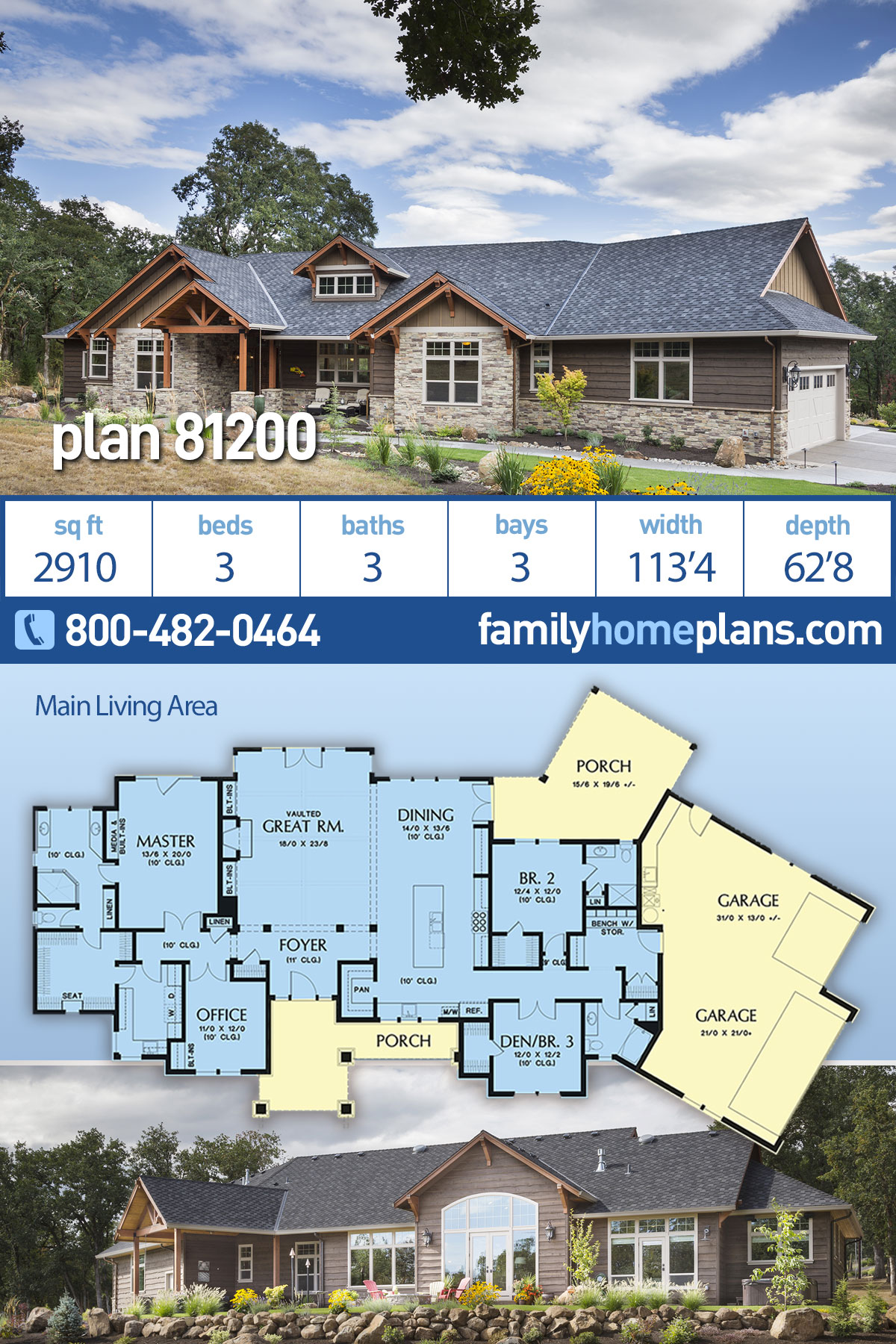Craftsman , Ranch House Plan 81200 with 3 Beds, 3 Baths, 3 Car Garage