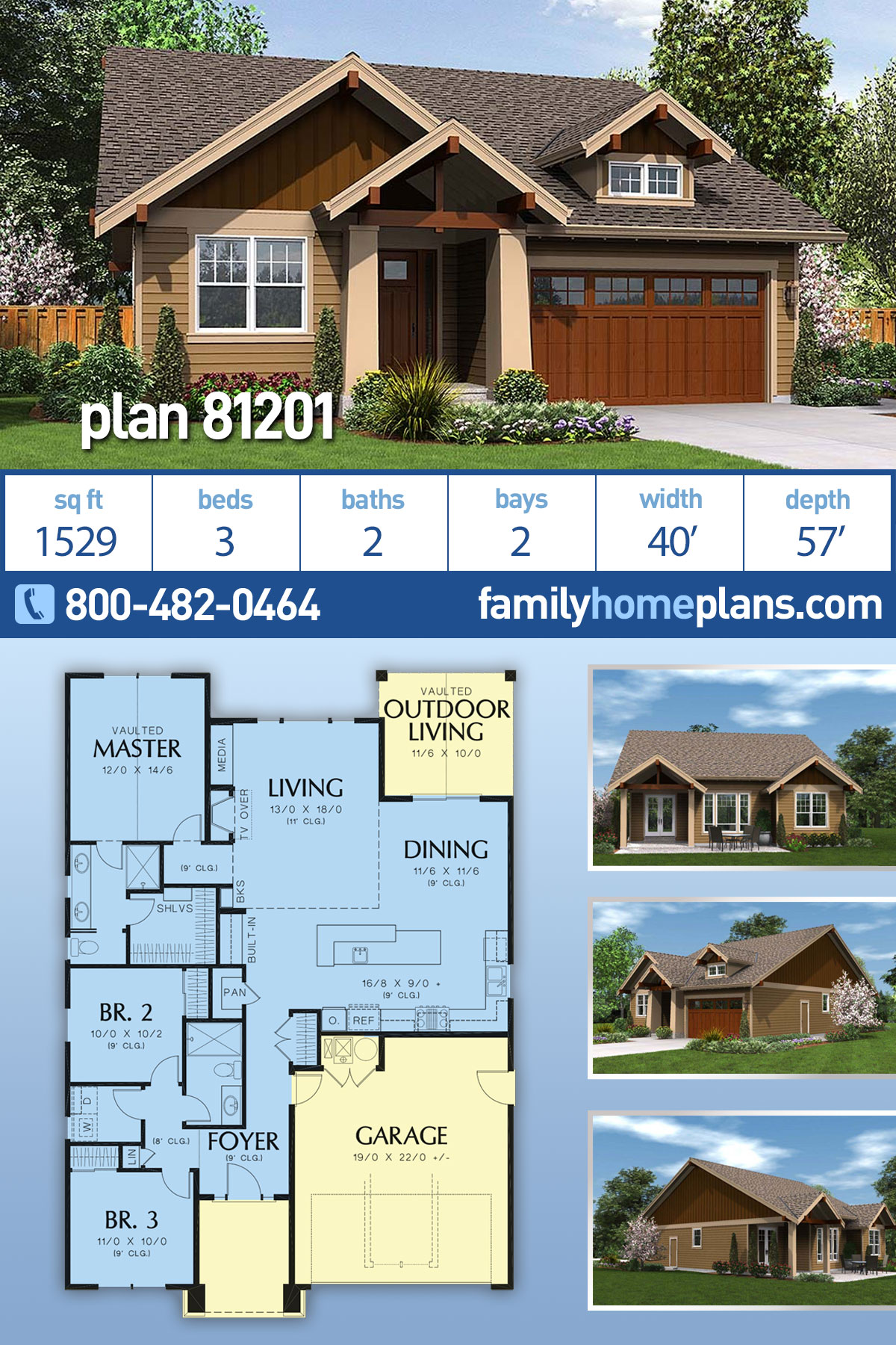 Bungalow, Cottage, Craftsman House Plan 81201 with 3 Beds, 2 Baths, 2 Car Garage