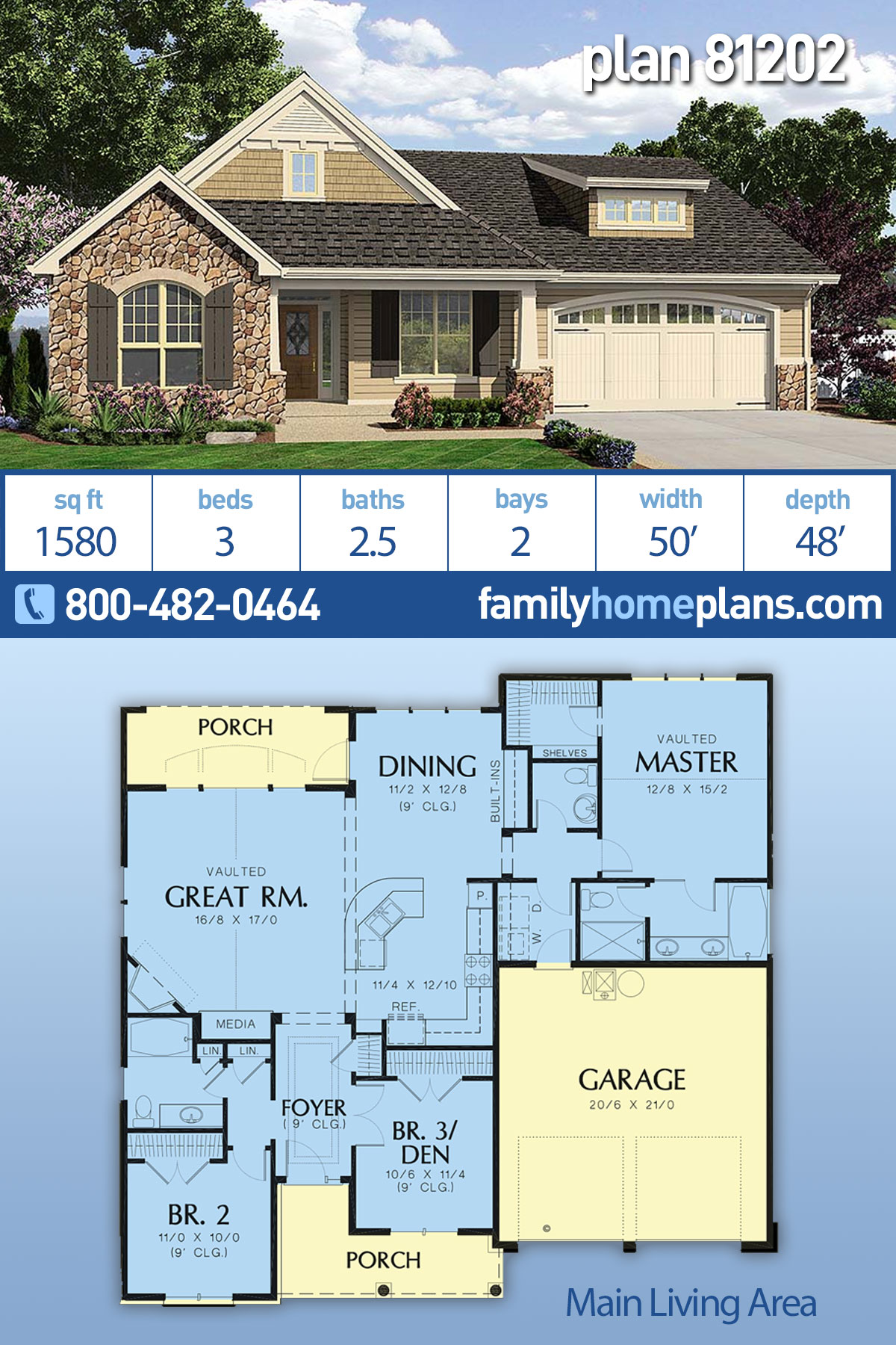 Cottage, Craftsman, French Country, Traditional House Plan 81202 with 3 Beds, 3 Baths, 2 Car Garage