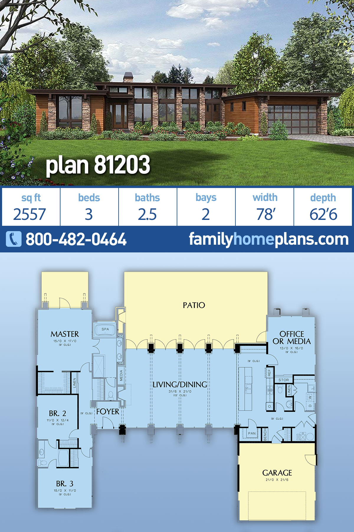 Contemporary, Modern House Plan 81203 with 3 Beds , 3 Baths , 2 Car Garage