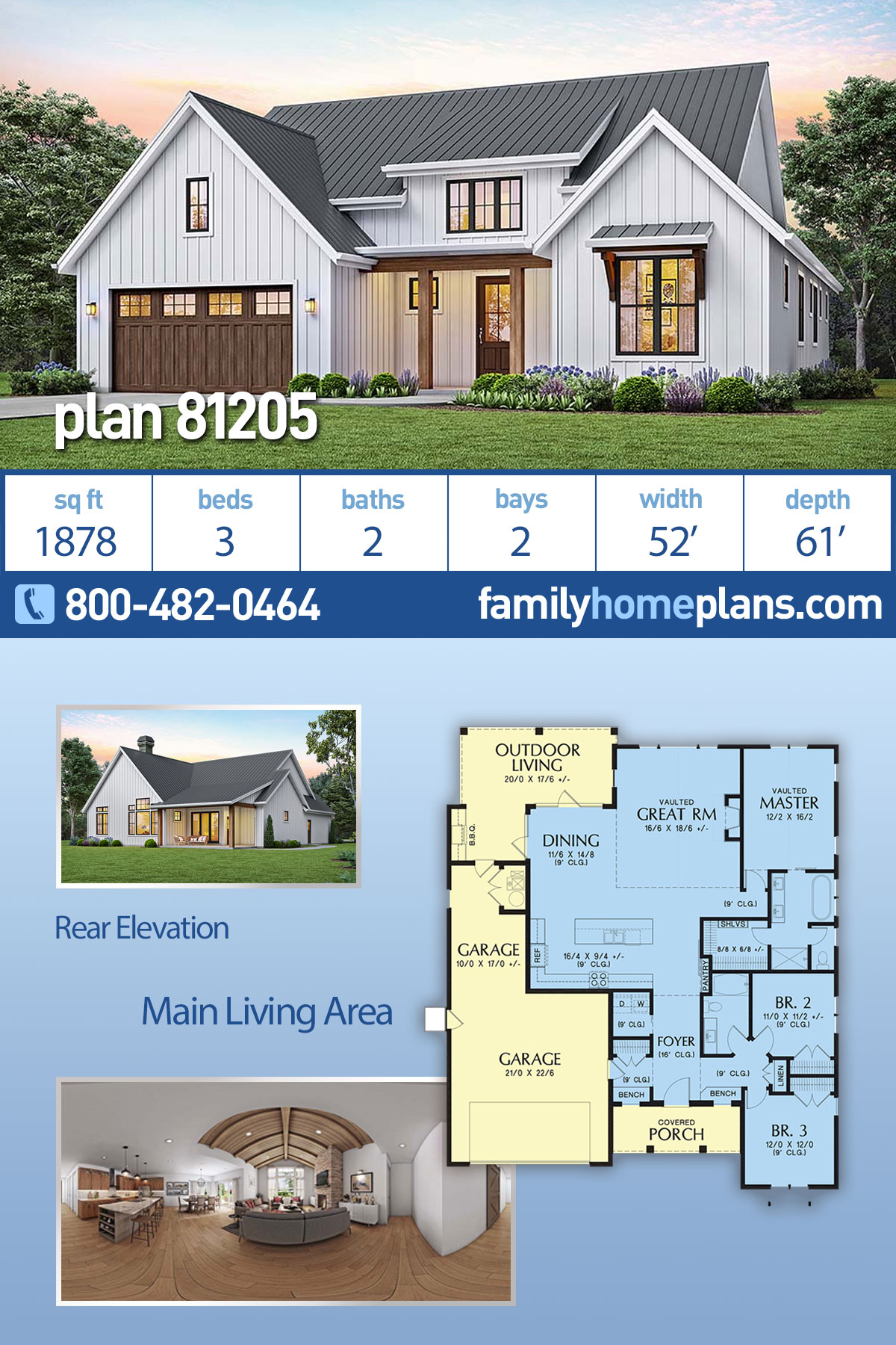 Country, Craftsman, Farmhouse House Plan 81205 with 3 Beds , 2 Baths , 2 Car Garage