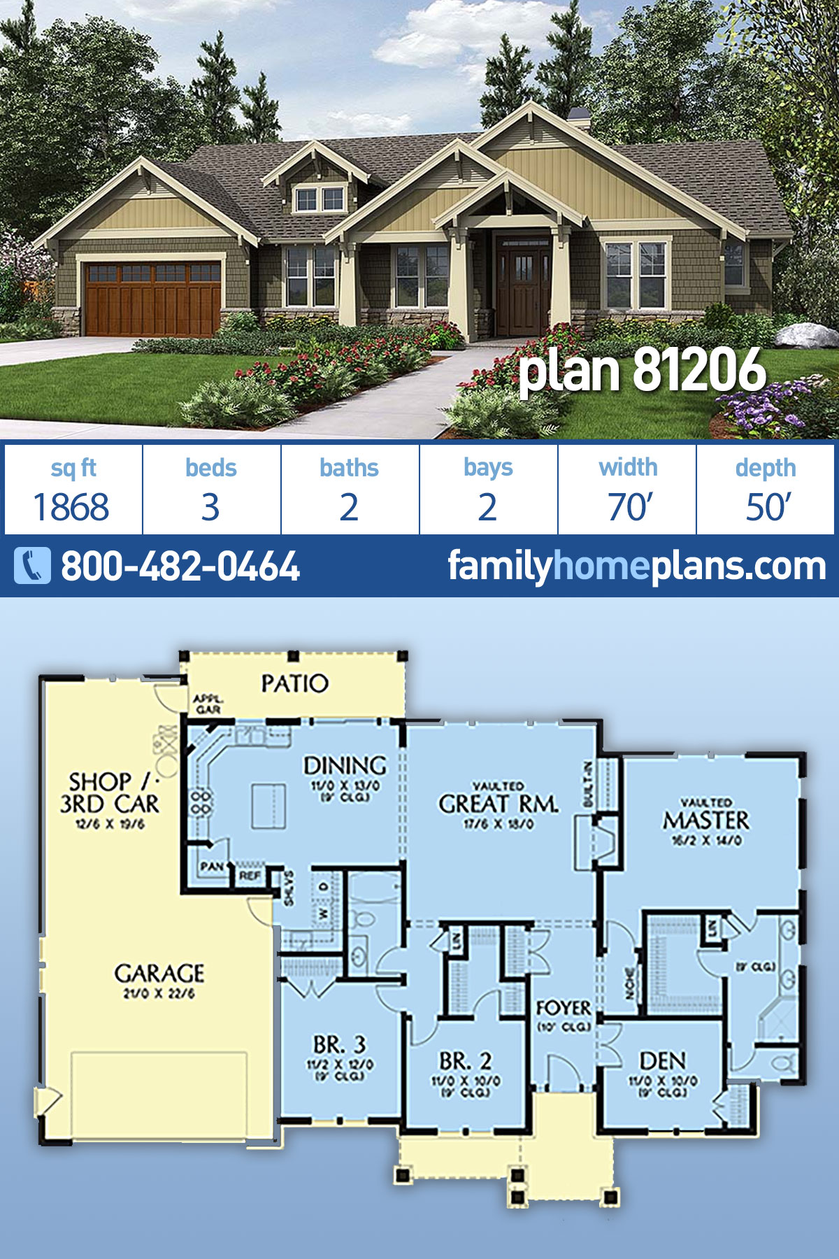 Bungalow, Craftsman House Plan 81206 with 3 Beds, 2 Baths, 2 Car Garage