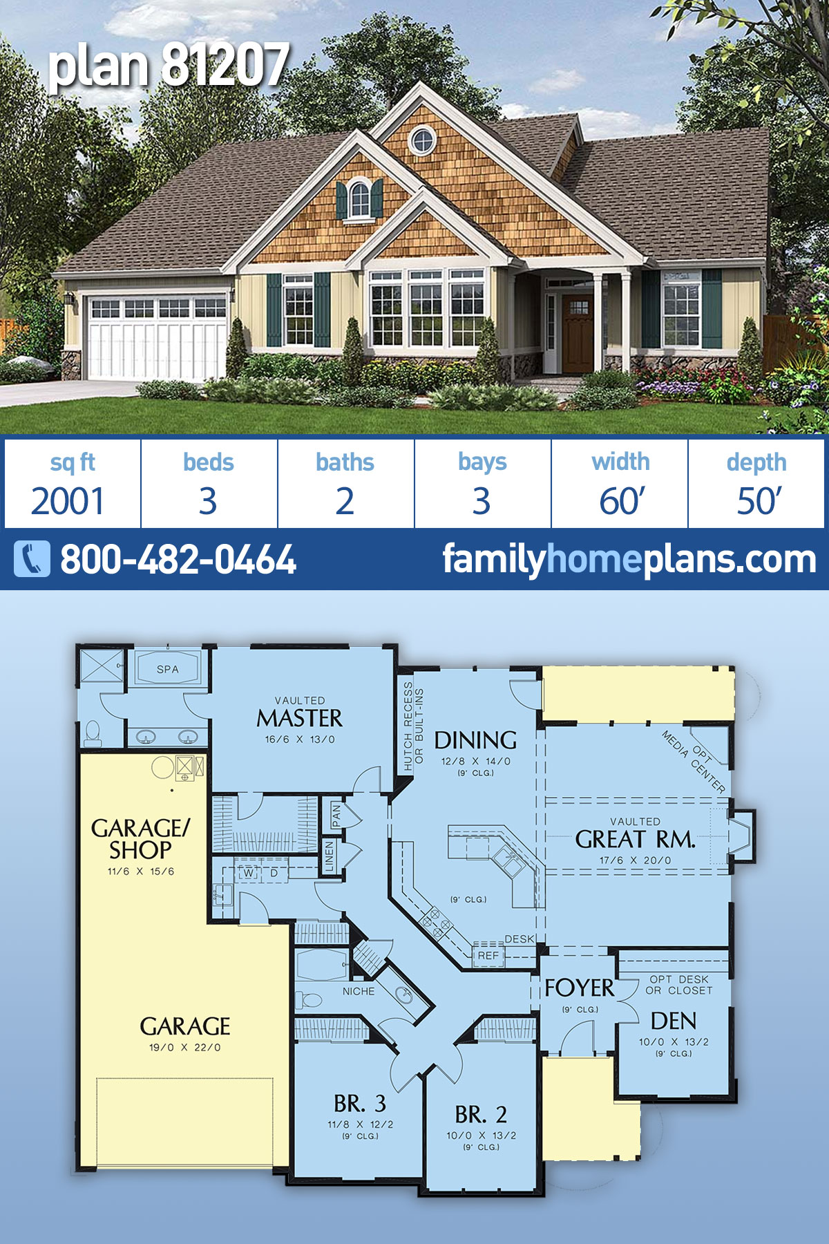 Cottage, Country House Plan 81207 with 3 Beds, 2 Baths, 3 Car Garage