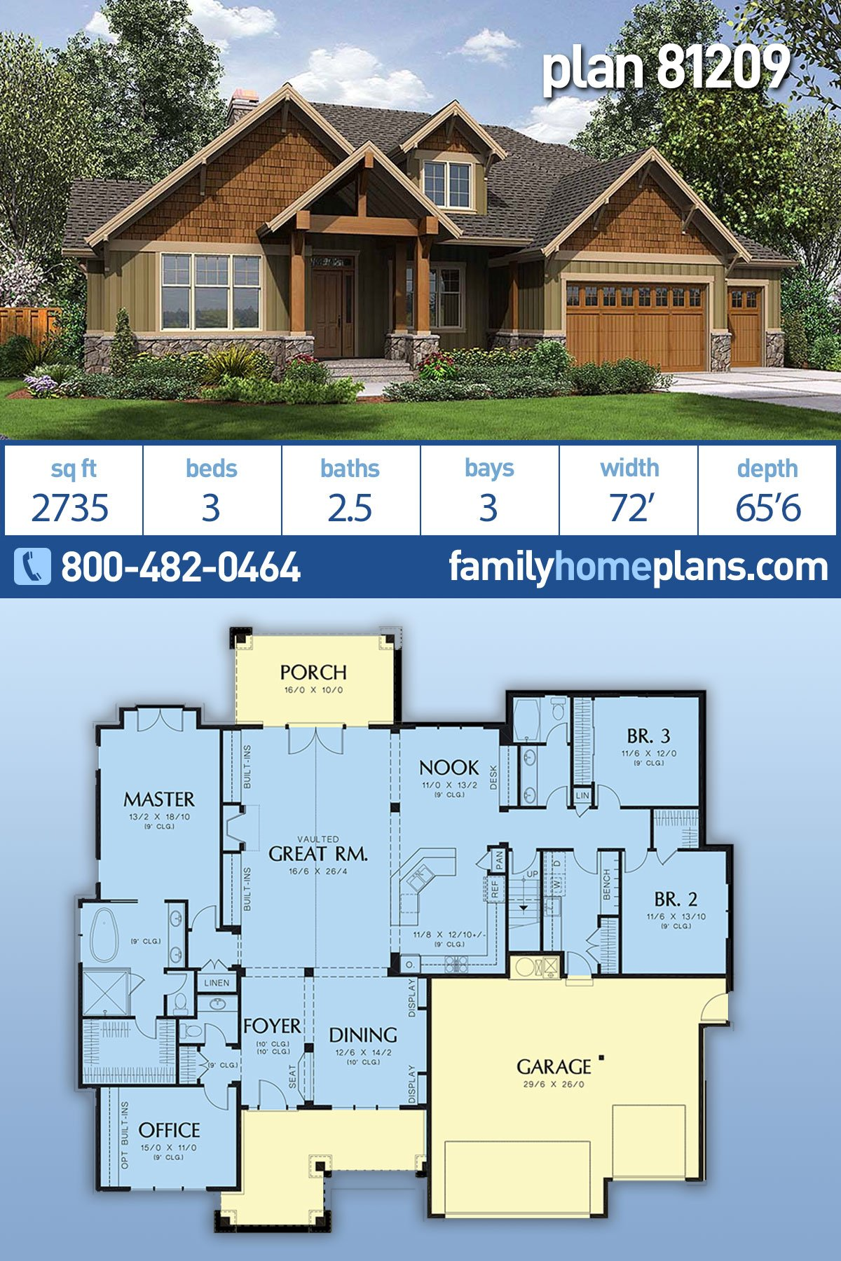 Bungalow, Craftsman House Plan 81209 with 3 Beds, 3 Baths, 3 Car Garage