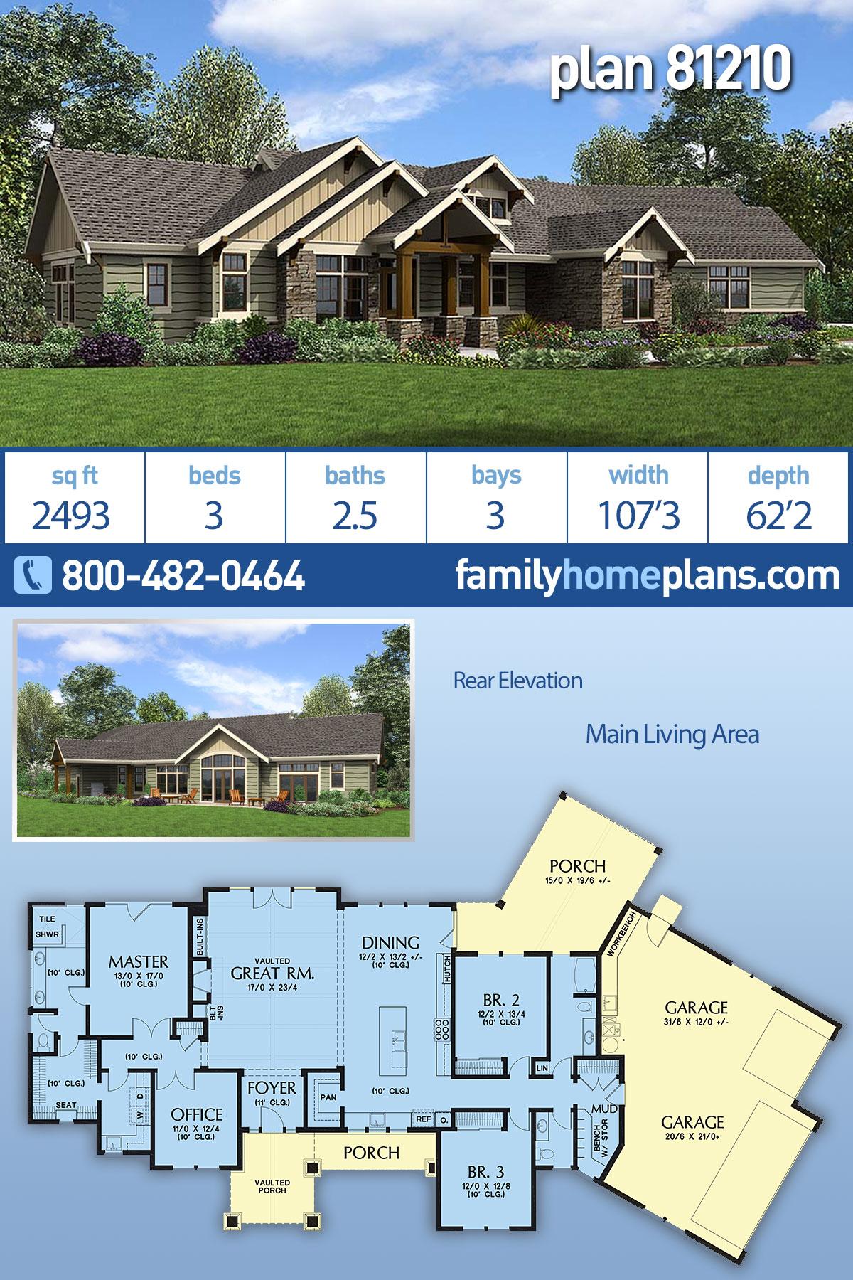 Craftsman , Ranch House Plan 81210 with 3 Beds, 3 Baths, 3 Car Garage