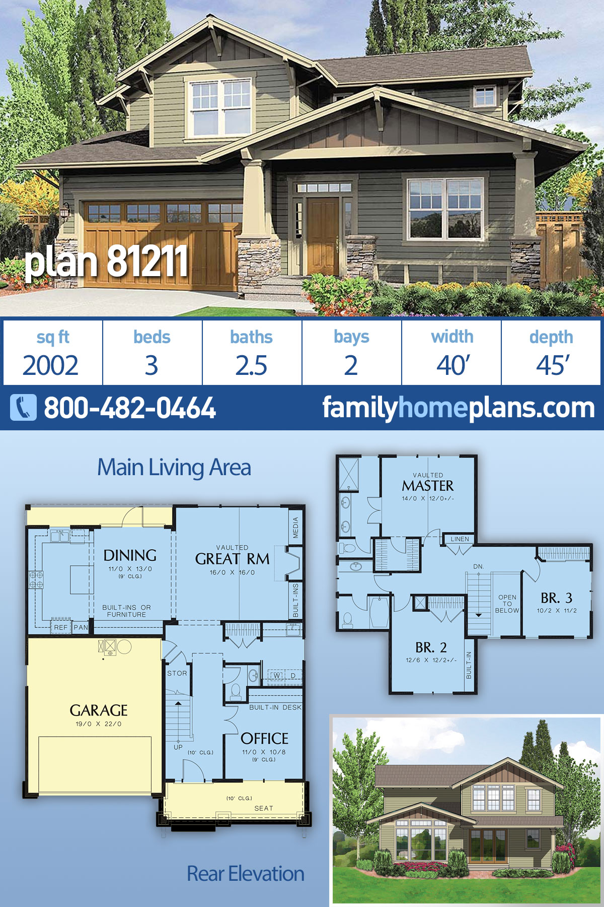 Bungalow, Craftsman House Plan 81211 with 3 Beds, 3 Baths, 2 Car Garage