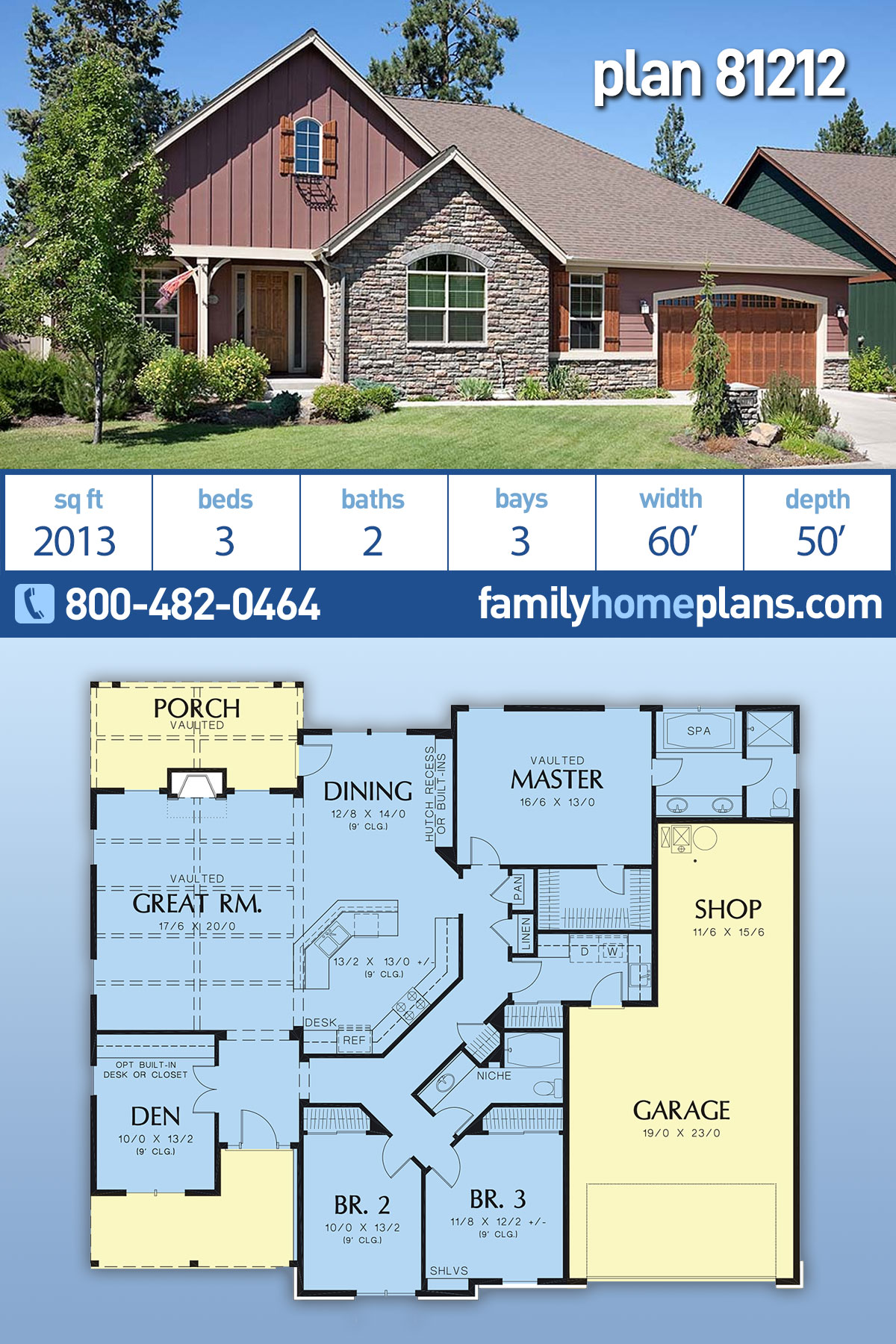 Craftsman , Ranch , Traditional House Plan 81212 with 3 Beds, 2 Baths, 3 Car Garage