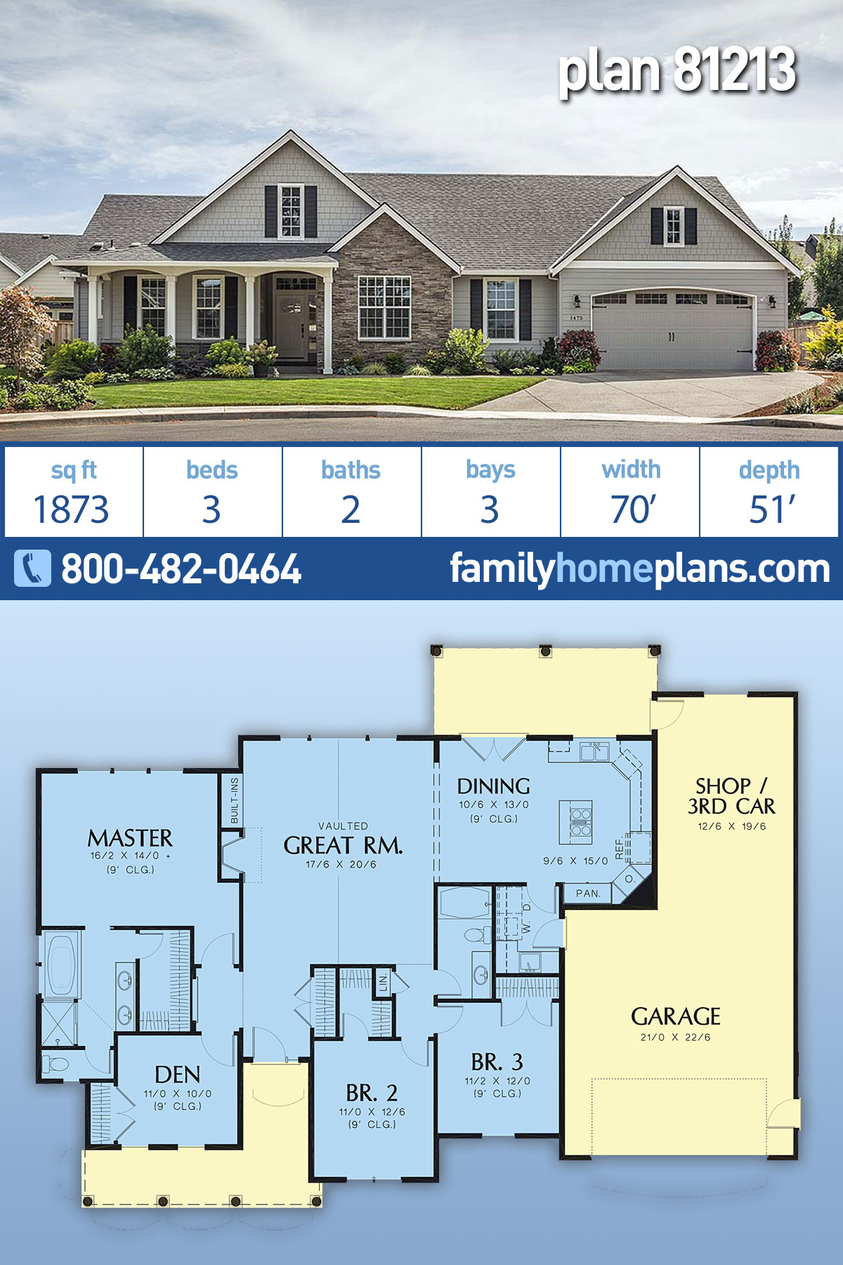 Craftsman, Ranch House Plan 81213 with 3 Beds, 2 Baths, 3 Car Garage