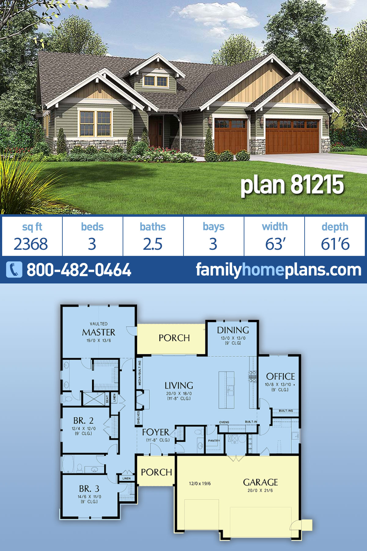 Craftsman House Plan 81215 with 3 Beds, 3 Baths, 3 Car Garage