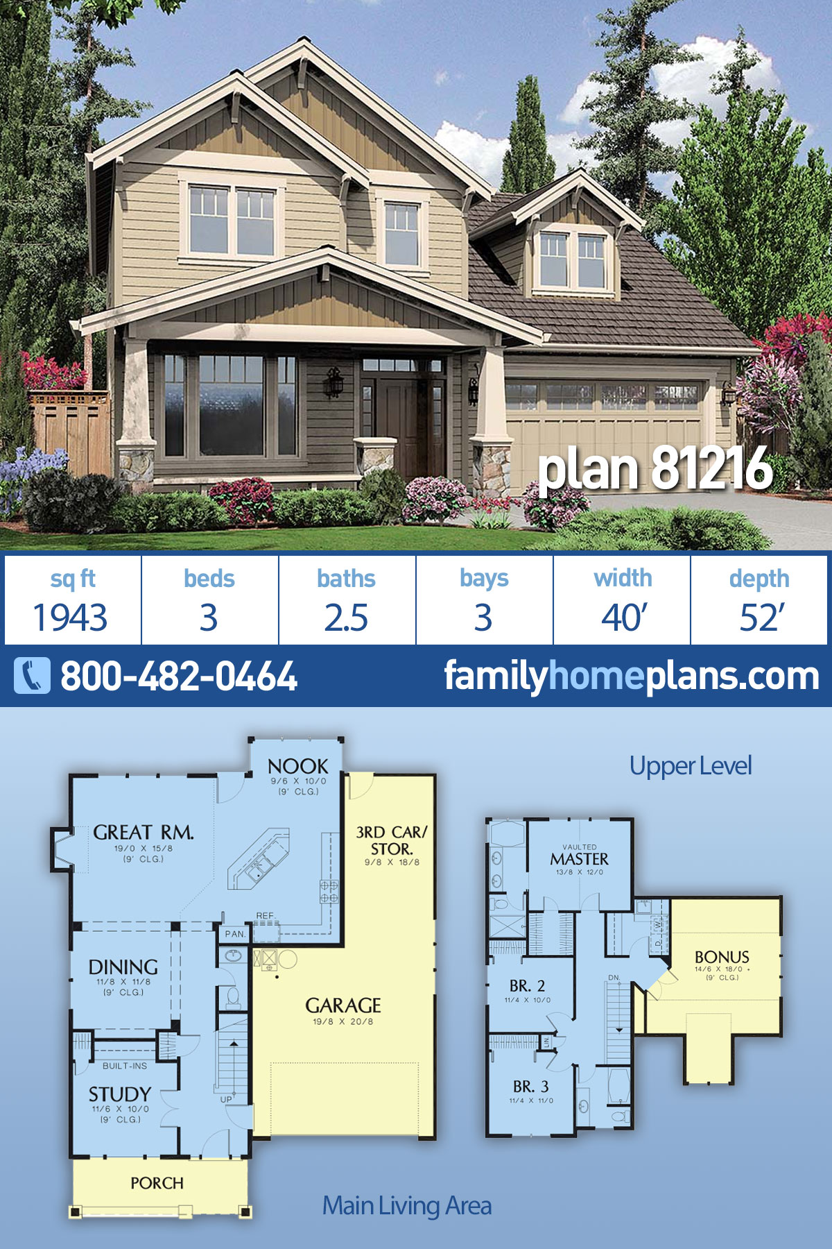 Craftsman, Traditional House Plan 81216 with 3 Beds, 3 Baths, 3 Car Garage
