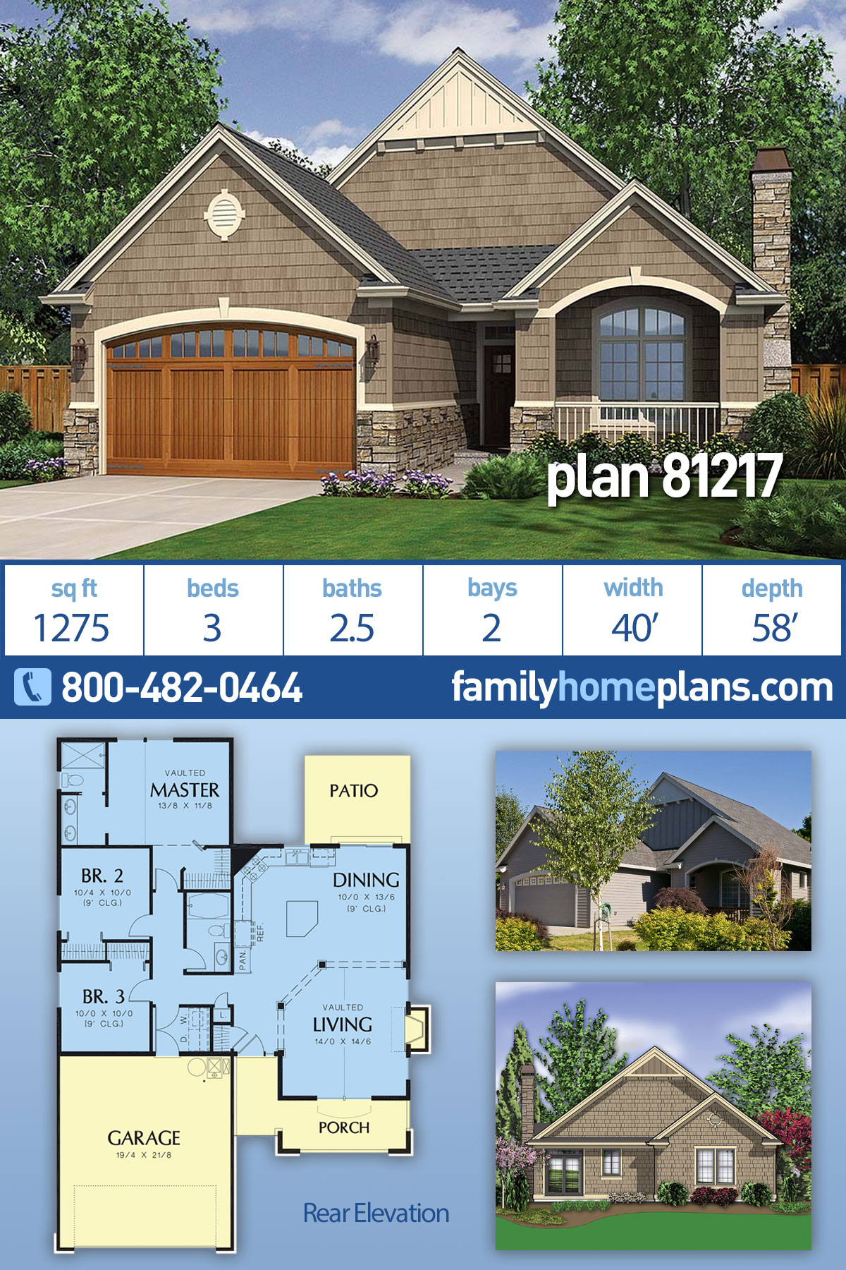 Cottage, Craftsman House Plan 81217 with 3 Beds, 3 Baths, 2 Car Garage