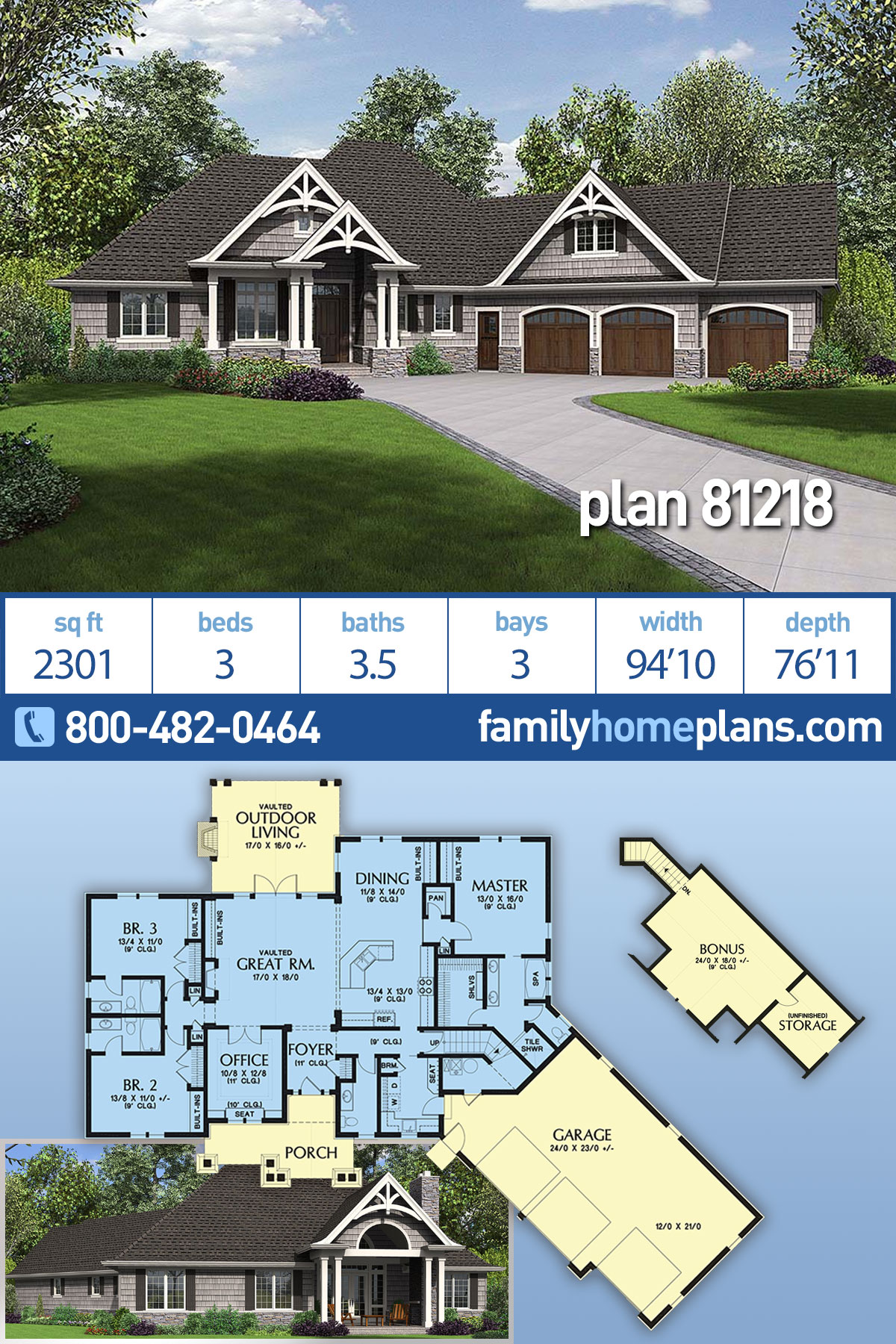 Craftsman House Plan 81218 with 3 Beds, 4 Baths, 3 Car Garage