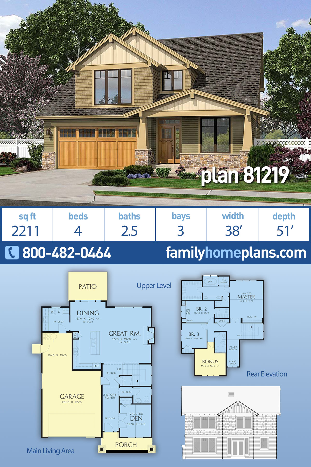 Bungalow, Craftsman, Traditional House Plan 81219 with 4 Beds, 3 Baths, 3 Car Garage