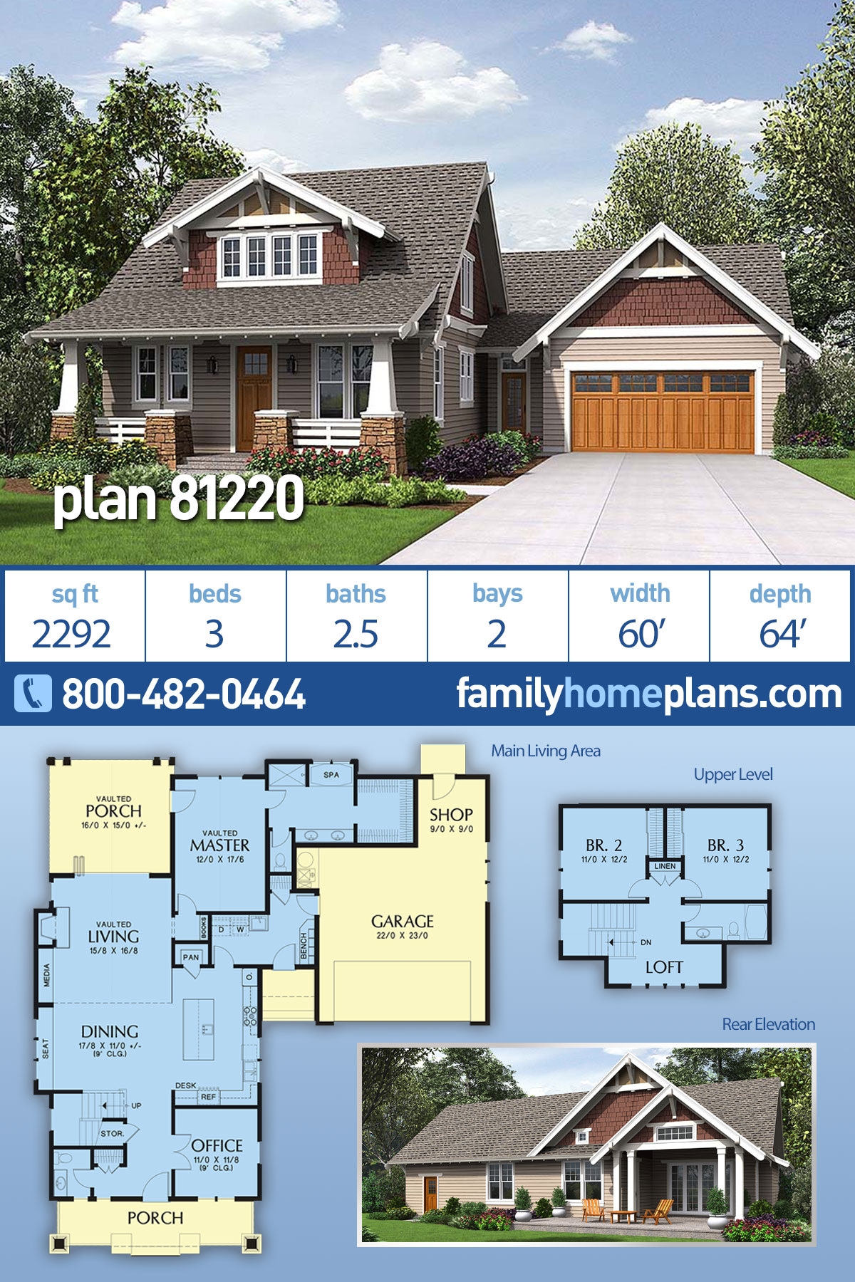 Bungalow, Craftsman, Traditional House Plan 81220 with 3 Beds, 3 Baths, 2 Car Garage