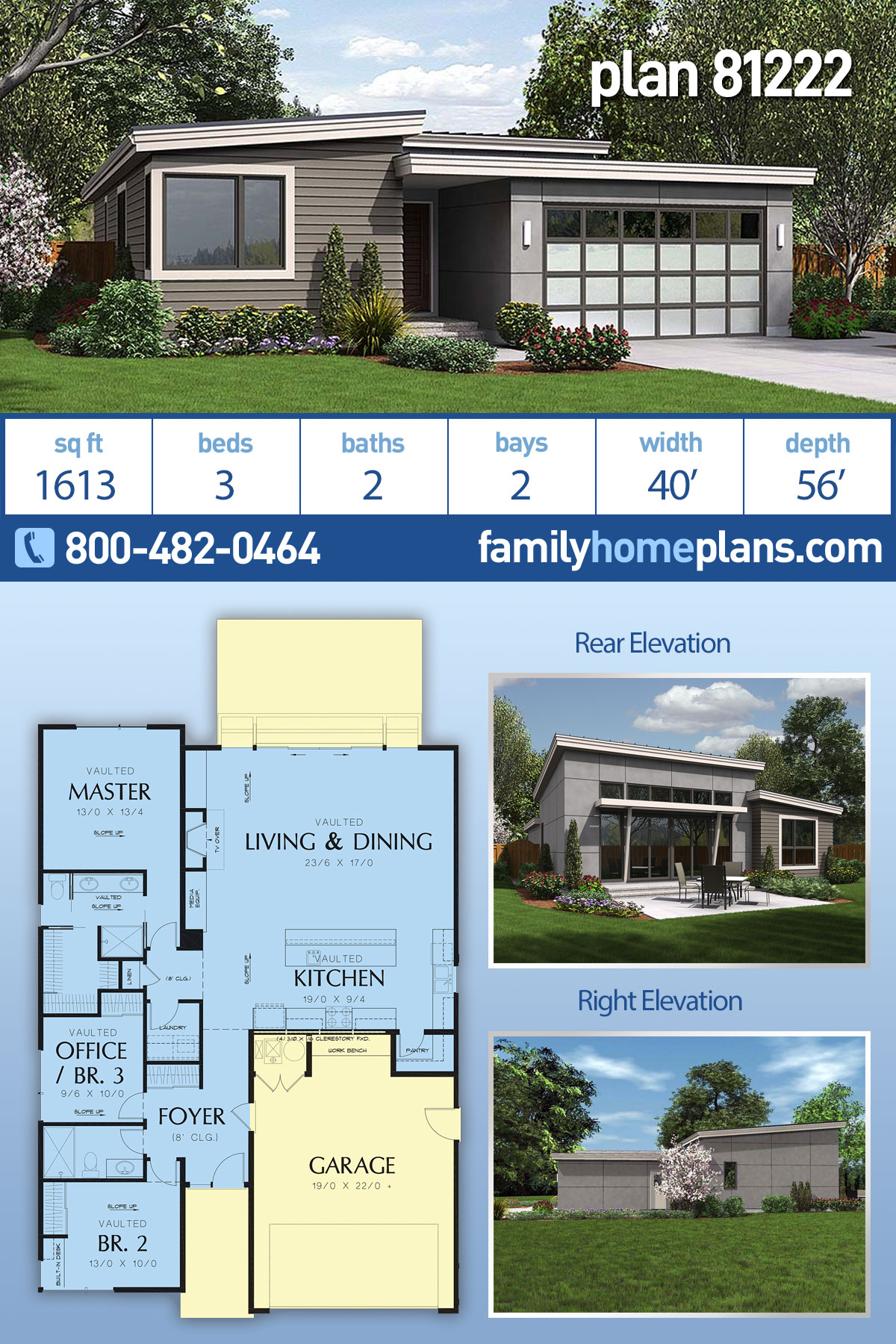 Contemporary, Ranch House Plan 81222 with 3 Beds, 2 Baths, 2 Car Garage