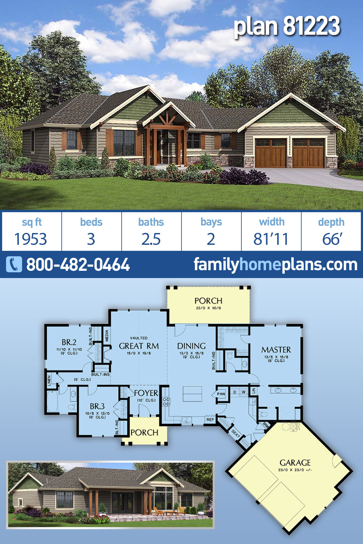 Craftsman, Ranch House Plan 81223 with 3 Beds, 3 Baths, 2 Car Garage
