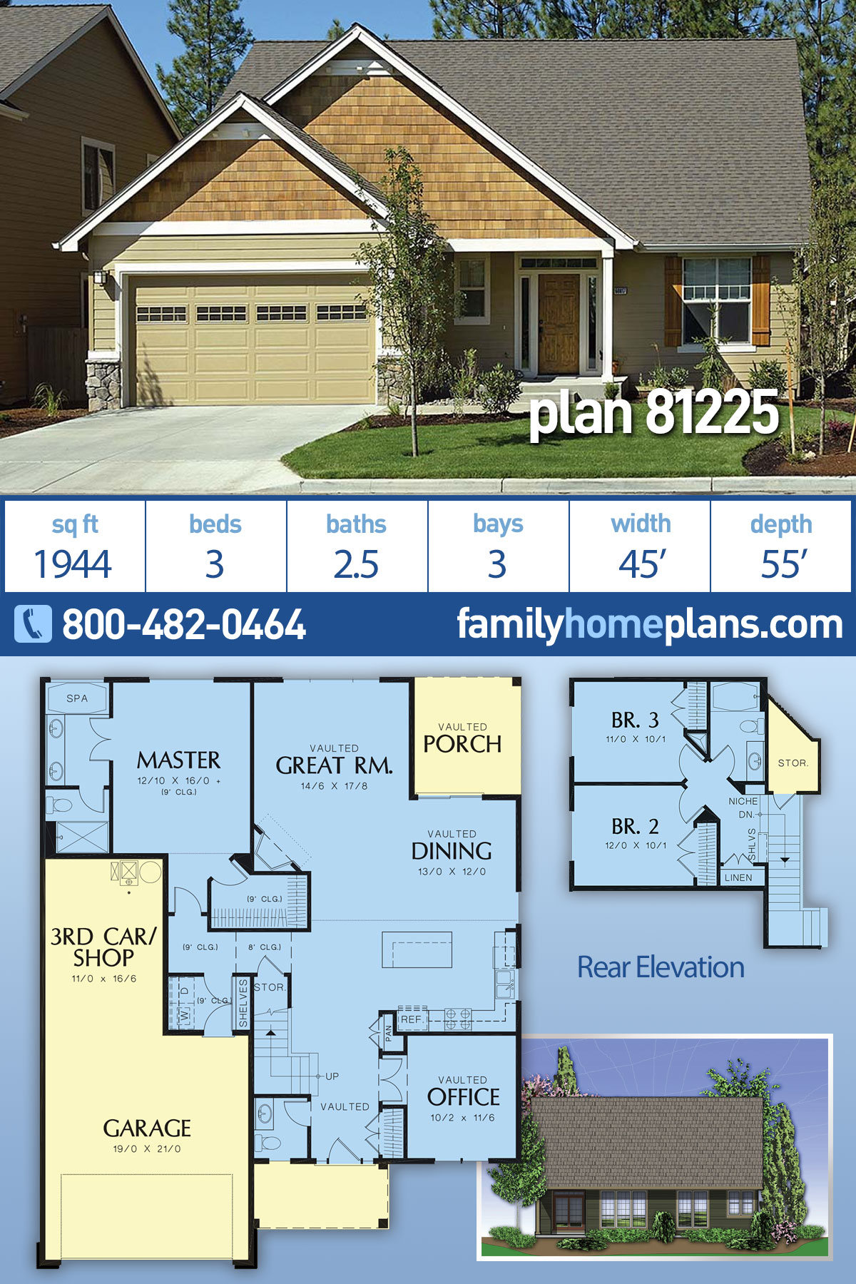 Bungalow, Craftsman House Plan 81225 with 3 Beds, 3 Baths, 3 Car Garage