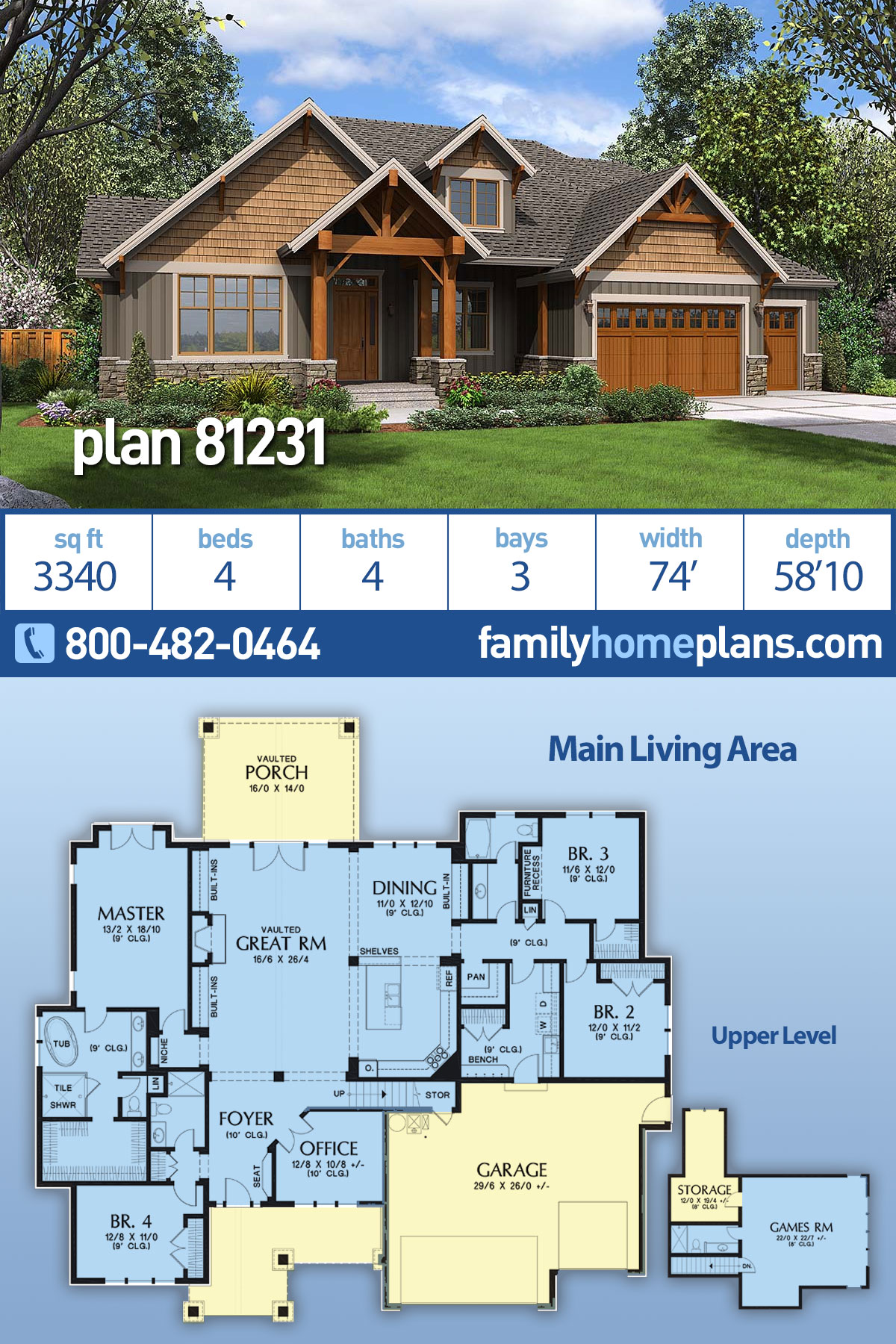 Craftsman House Plan 81231 with 4 Beds, 4 Baths, 3 Car Garage