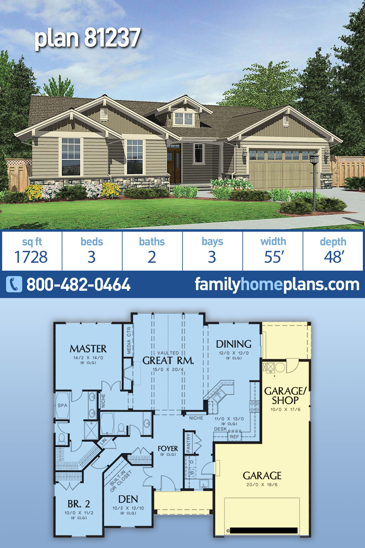 Craftsman House Plan 81237 with 3 Beds, 2 Baths, 3 Car Garage