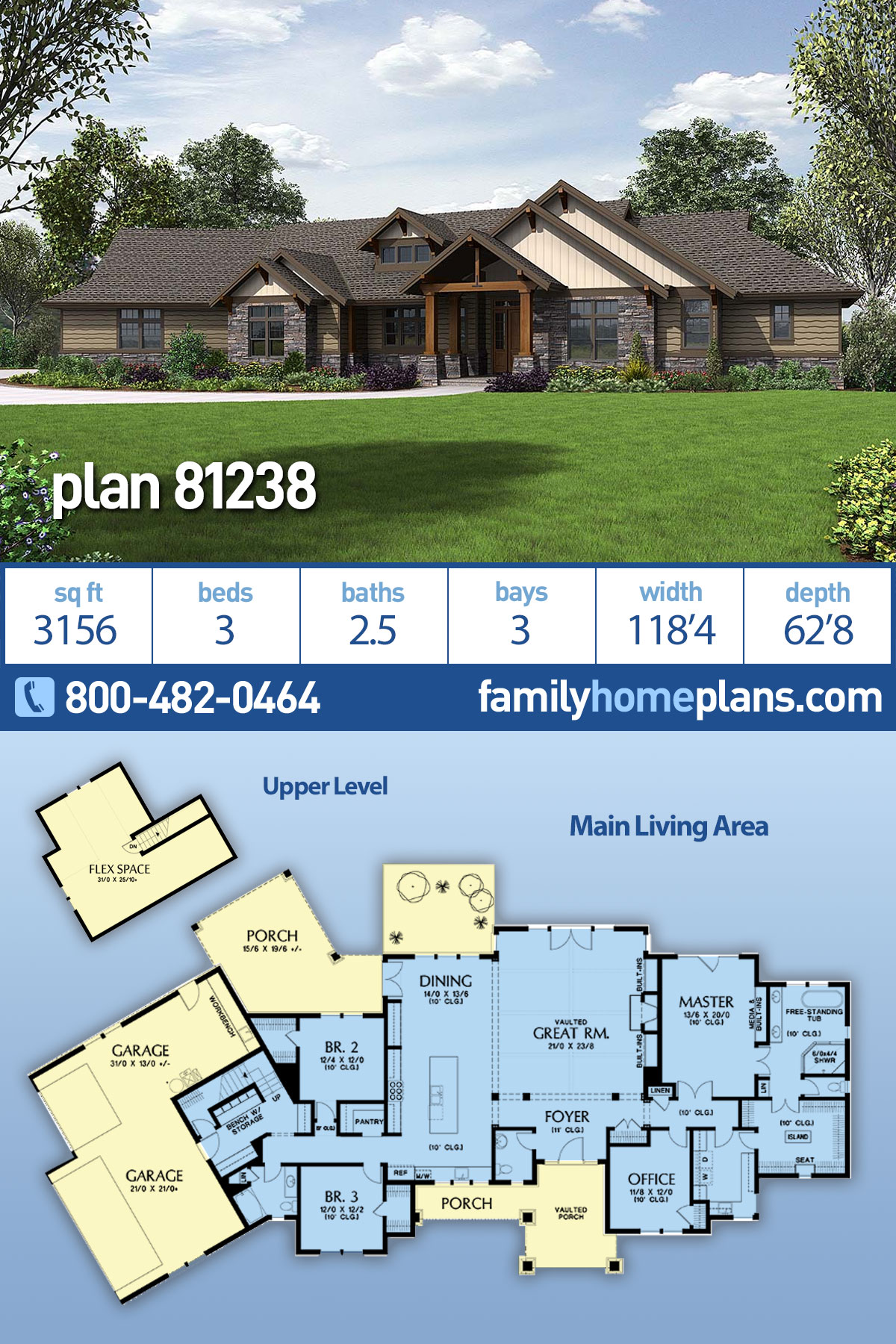 Craftsman House Plan 81238 with 3 Beds, 3 Baths, 3 Car Garage