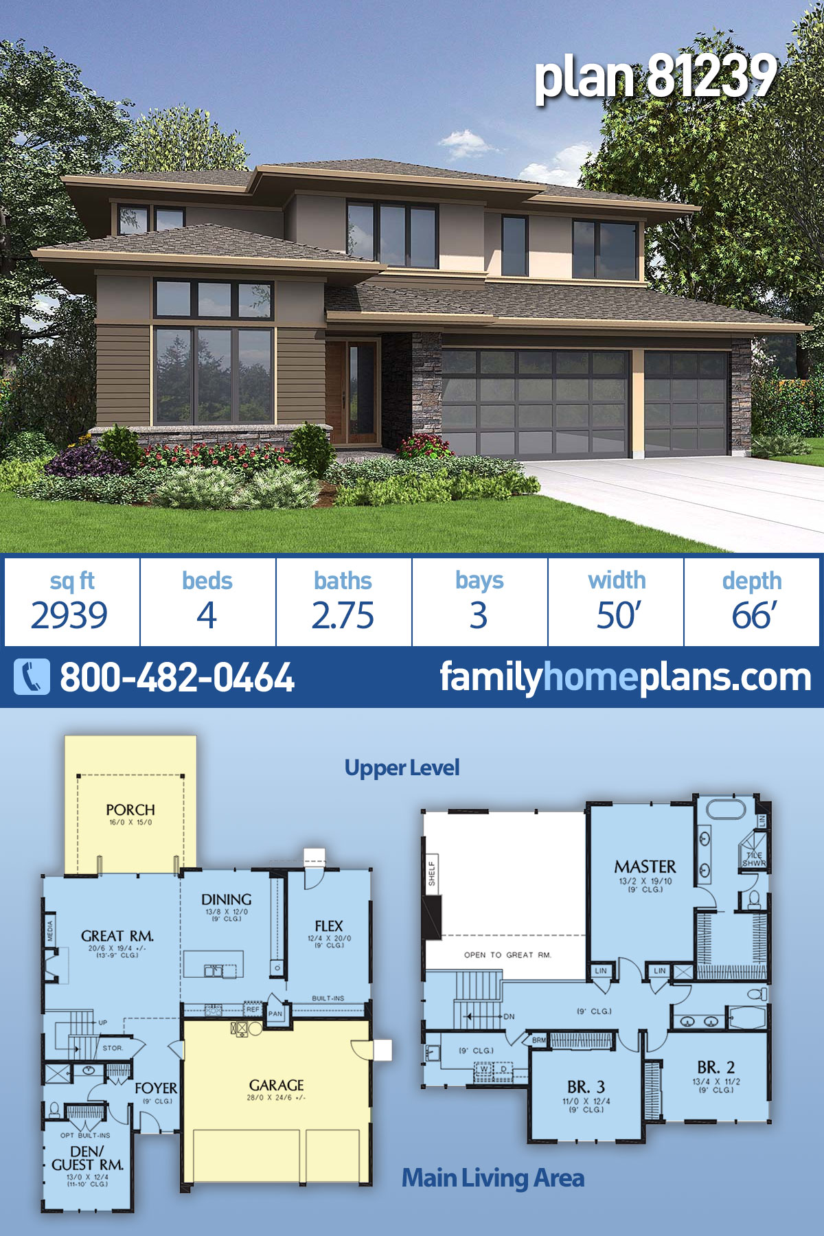 Contemporary, Modern, Prairie Style House Plan 81239 with 4 Beds , 3 Baths , 3 Car Garage