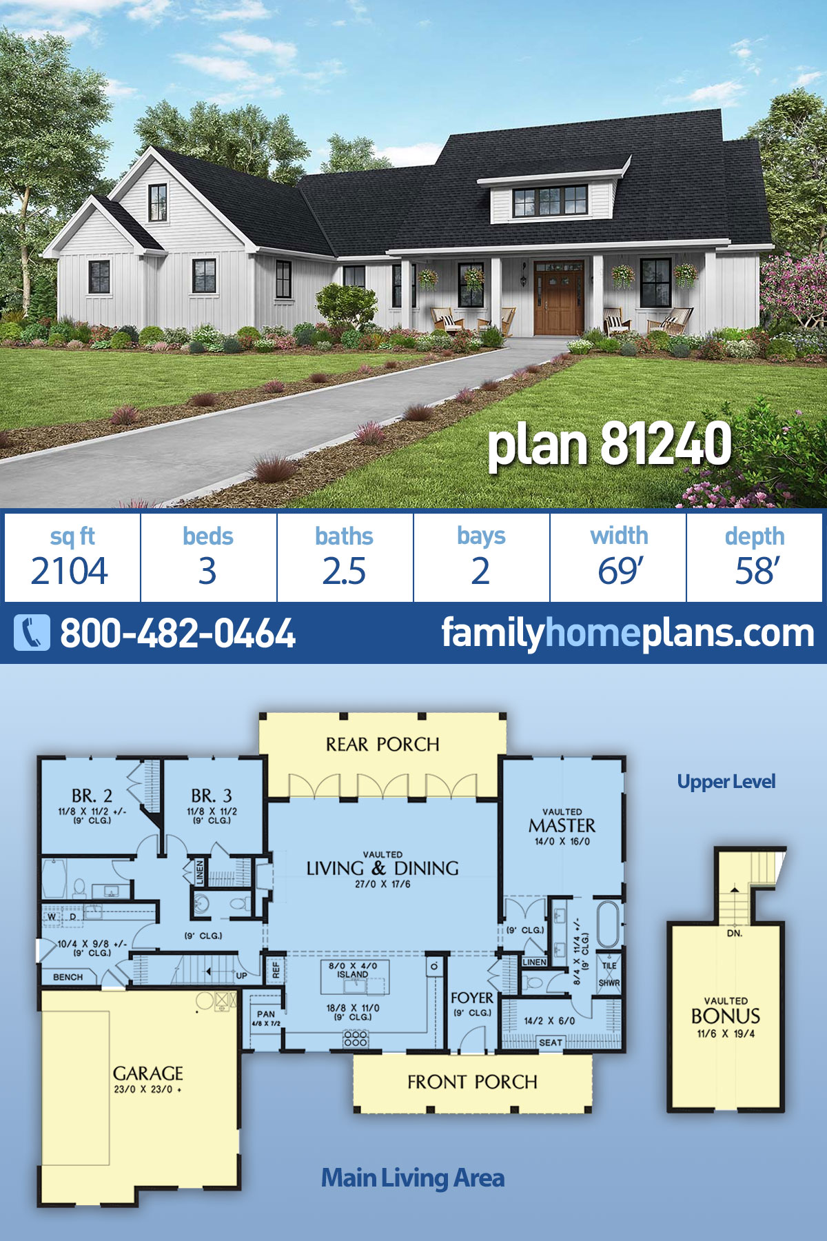 Contemporary, Country, Farmhouse, Southern House Plan 81240 with 3 Beds, 3 Baths, 2 Car Garage