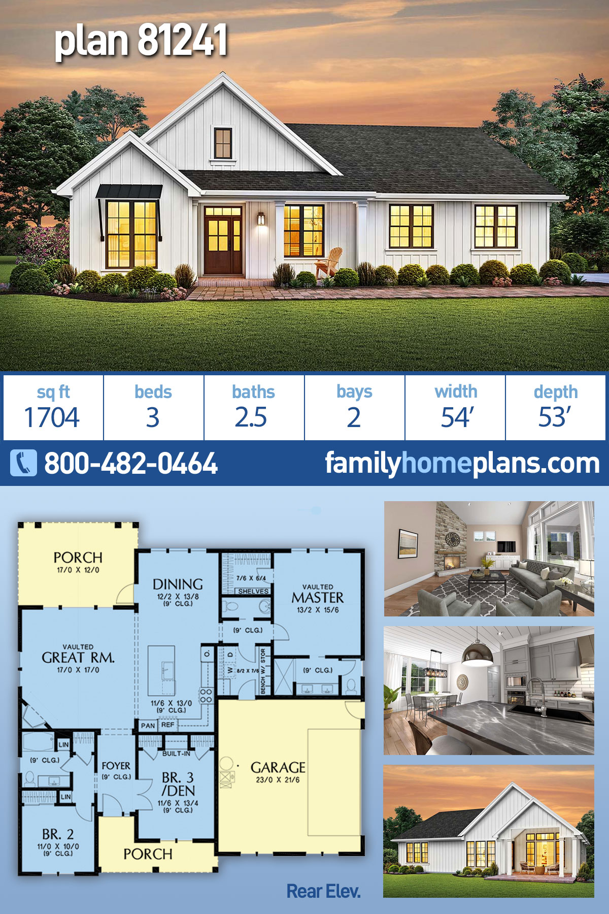 Cottage, Country, Ranch, Traditional House Plan 81241 with 3 Beds, 3 Baths, 2 Car Garage