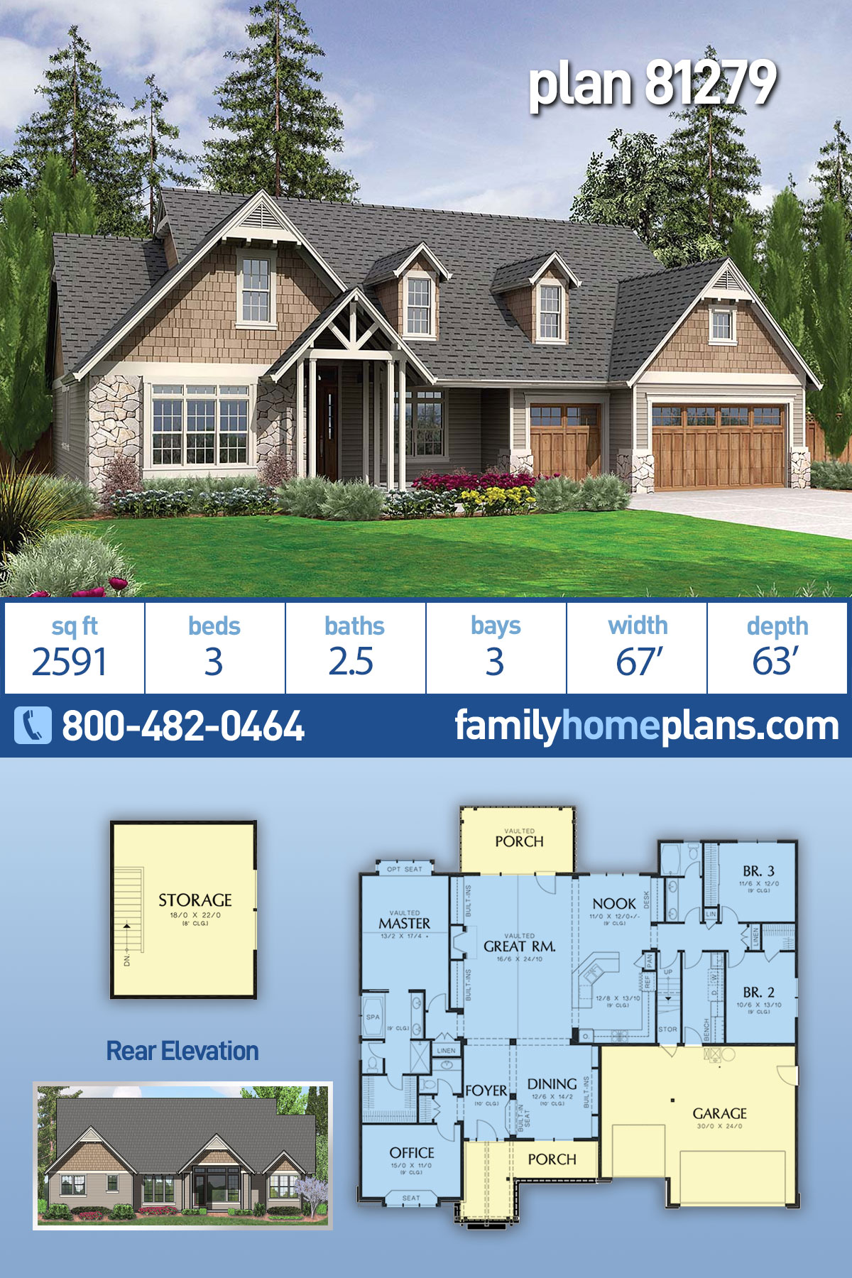 Bungalow, Craftsman, Ranch House Plan 81279 with 3 Beds, 3 Baths, 3 Car Garage