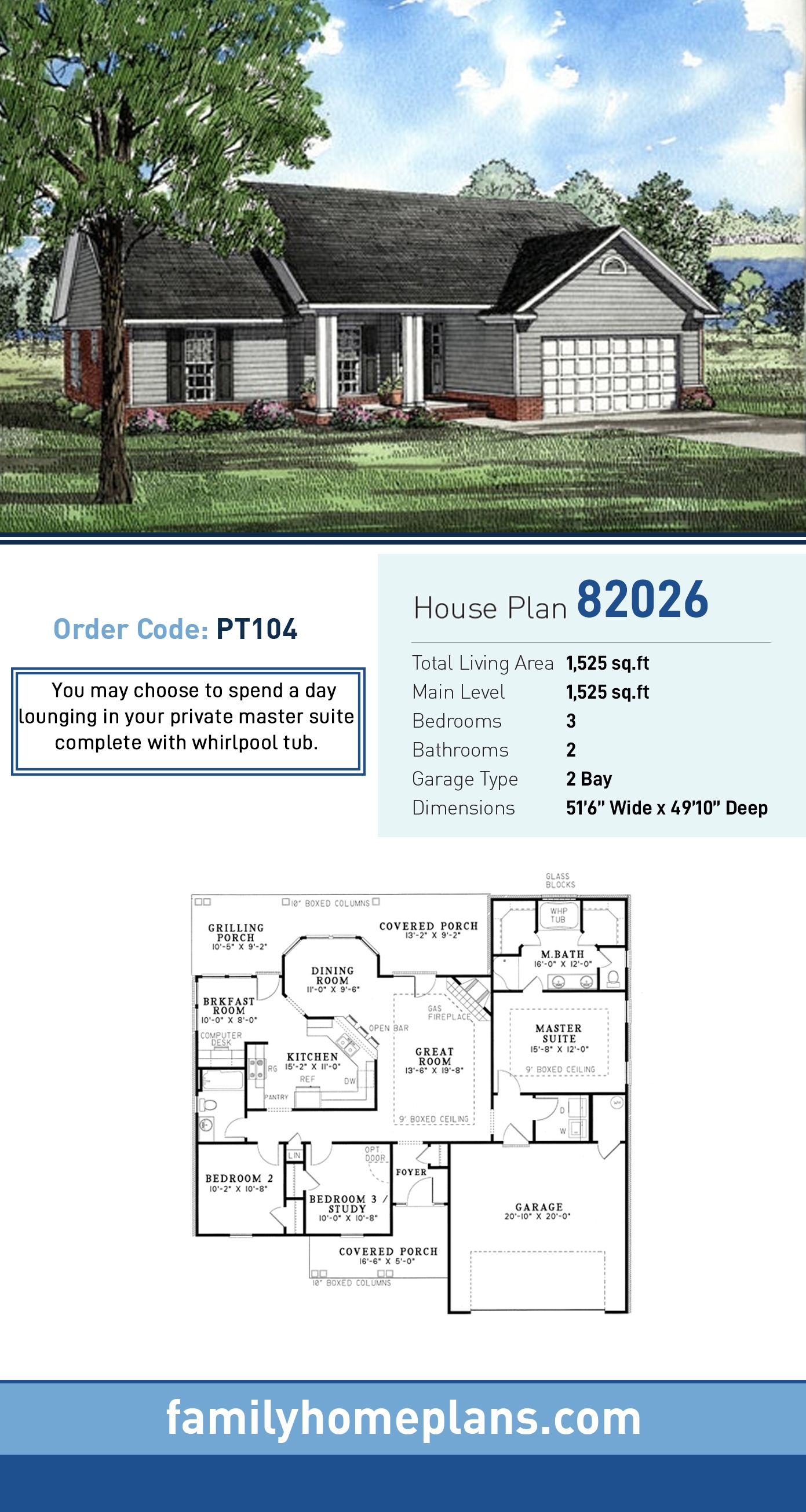 Ranch House Plan 82026 with 3 Beds, 2 Baths, 2 Car Garage