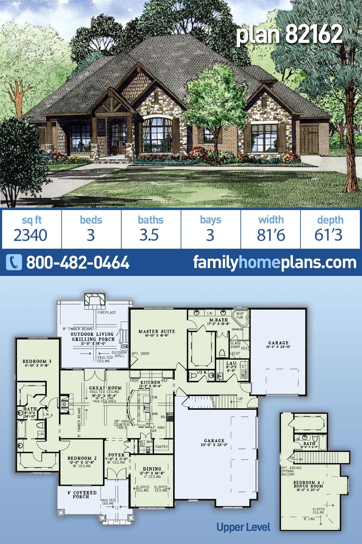 Craftsman, European House Plan 82162 with 3 Beds, 4 Baths, 3 Car Garage